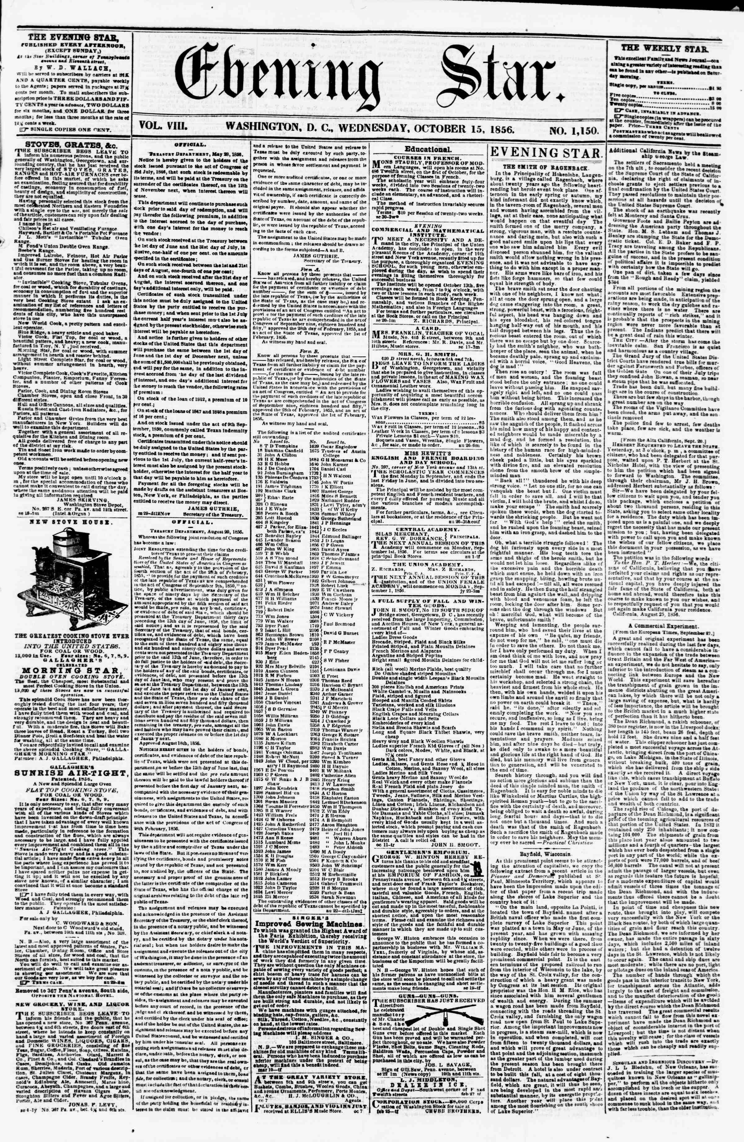 Newspaper of Evening Star dated October 15, 1856 Page 1