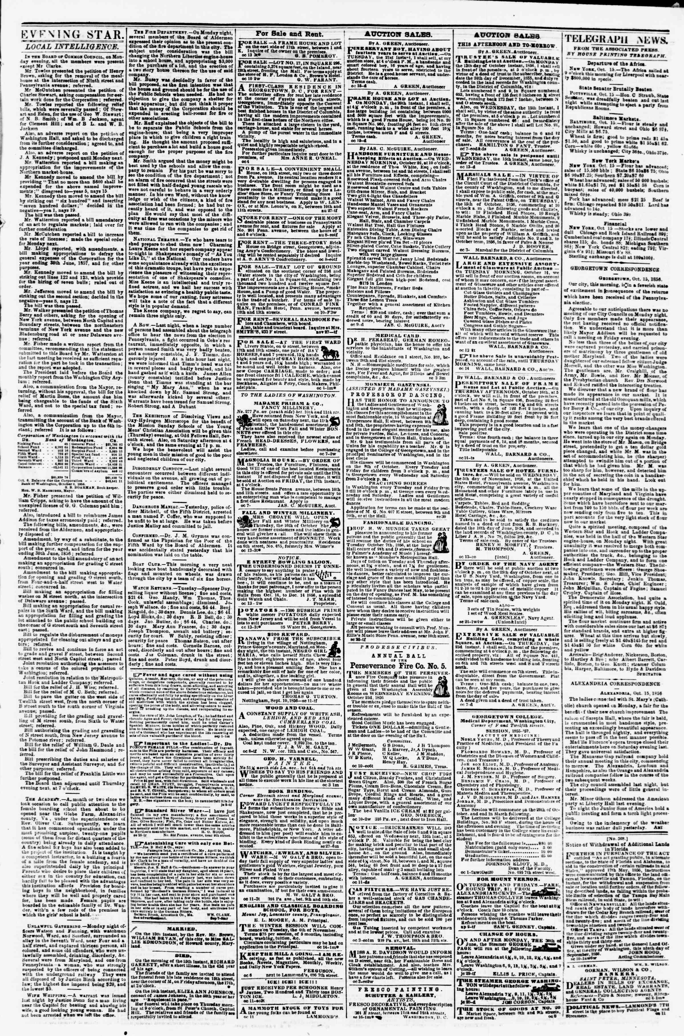 Newspaper of Evening Star dated October 15, 1856 Page 3