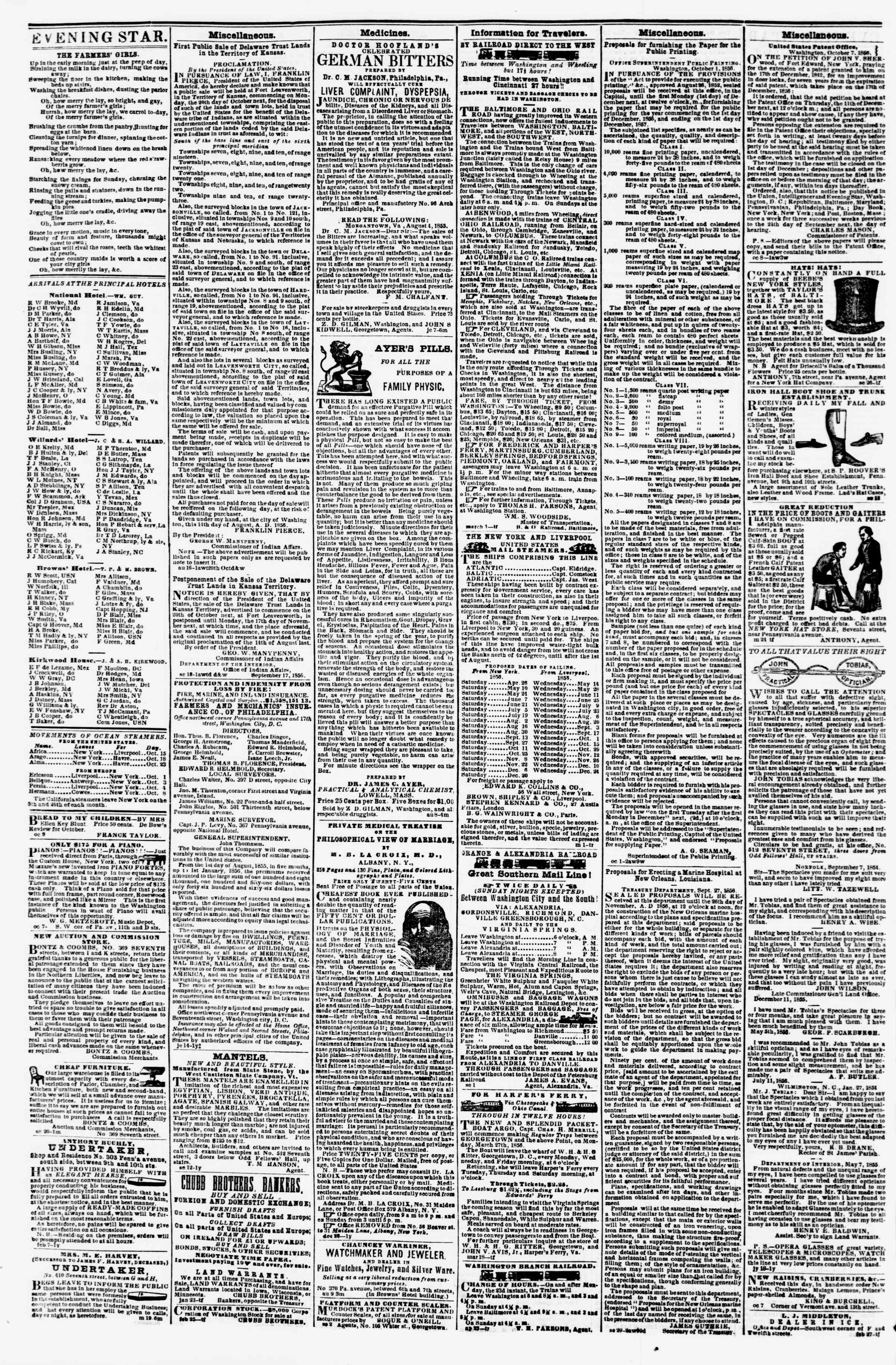 Newspaper of Evening Star dated October 16, 1856 Page 4