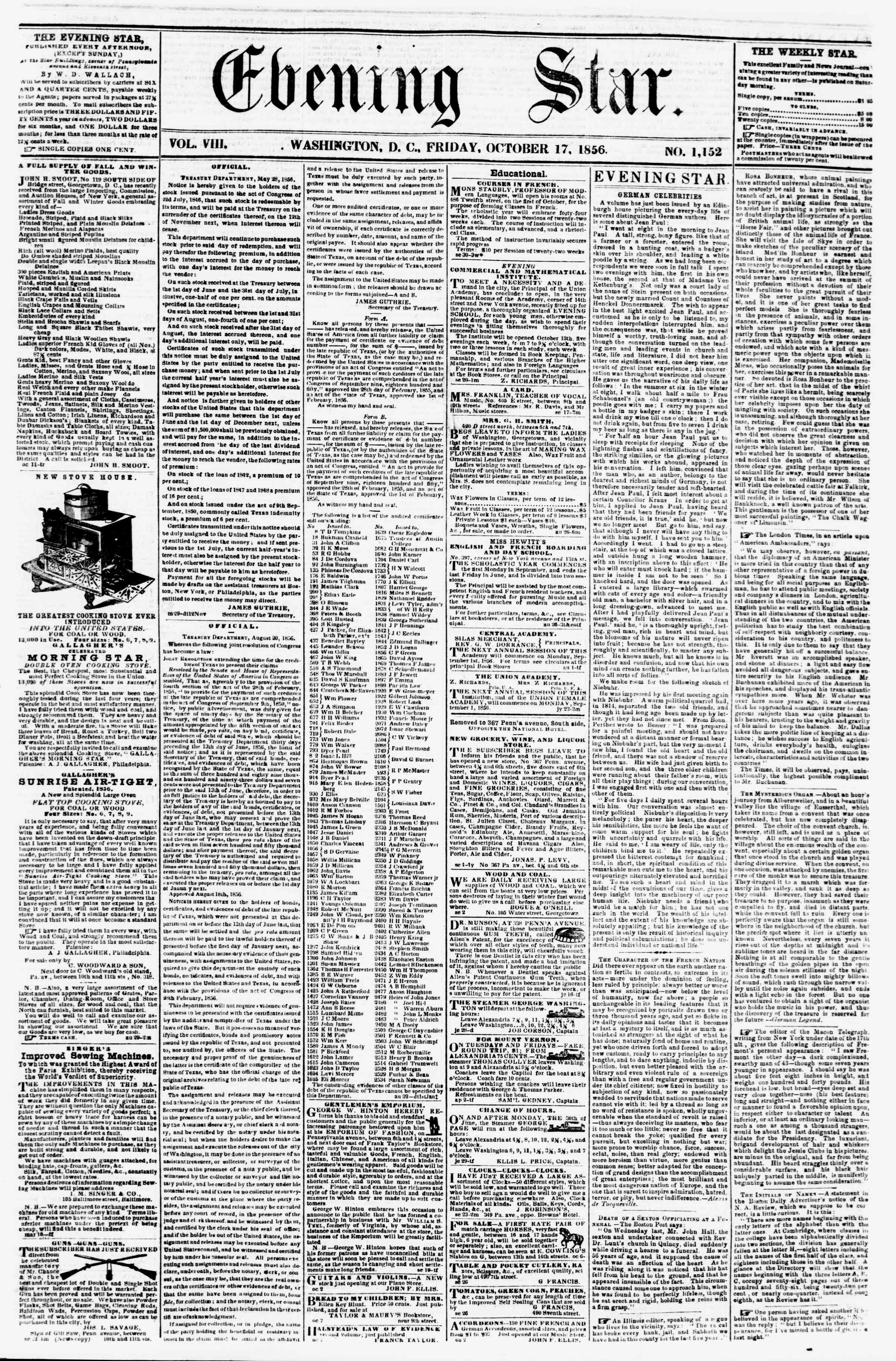 Newspaper of Evening Star dated October 17, 1856 Page 1