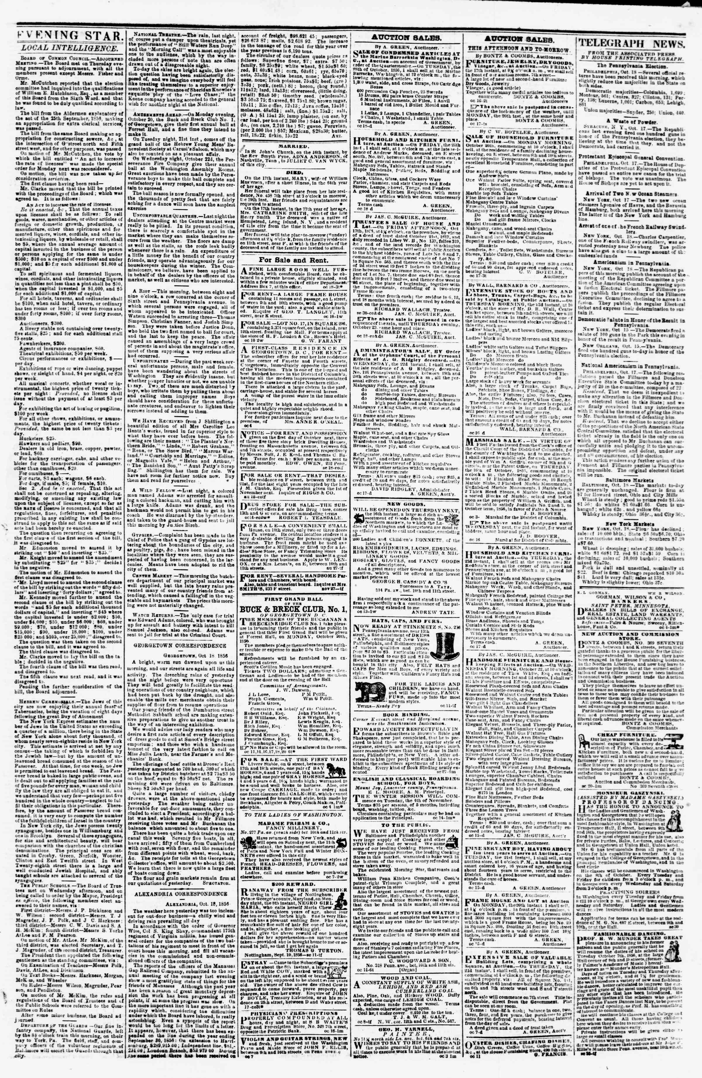 Newspaper of Evening Star dated October 18, 1856 Page 3