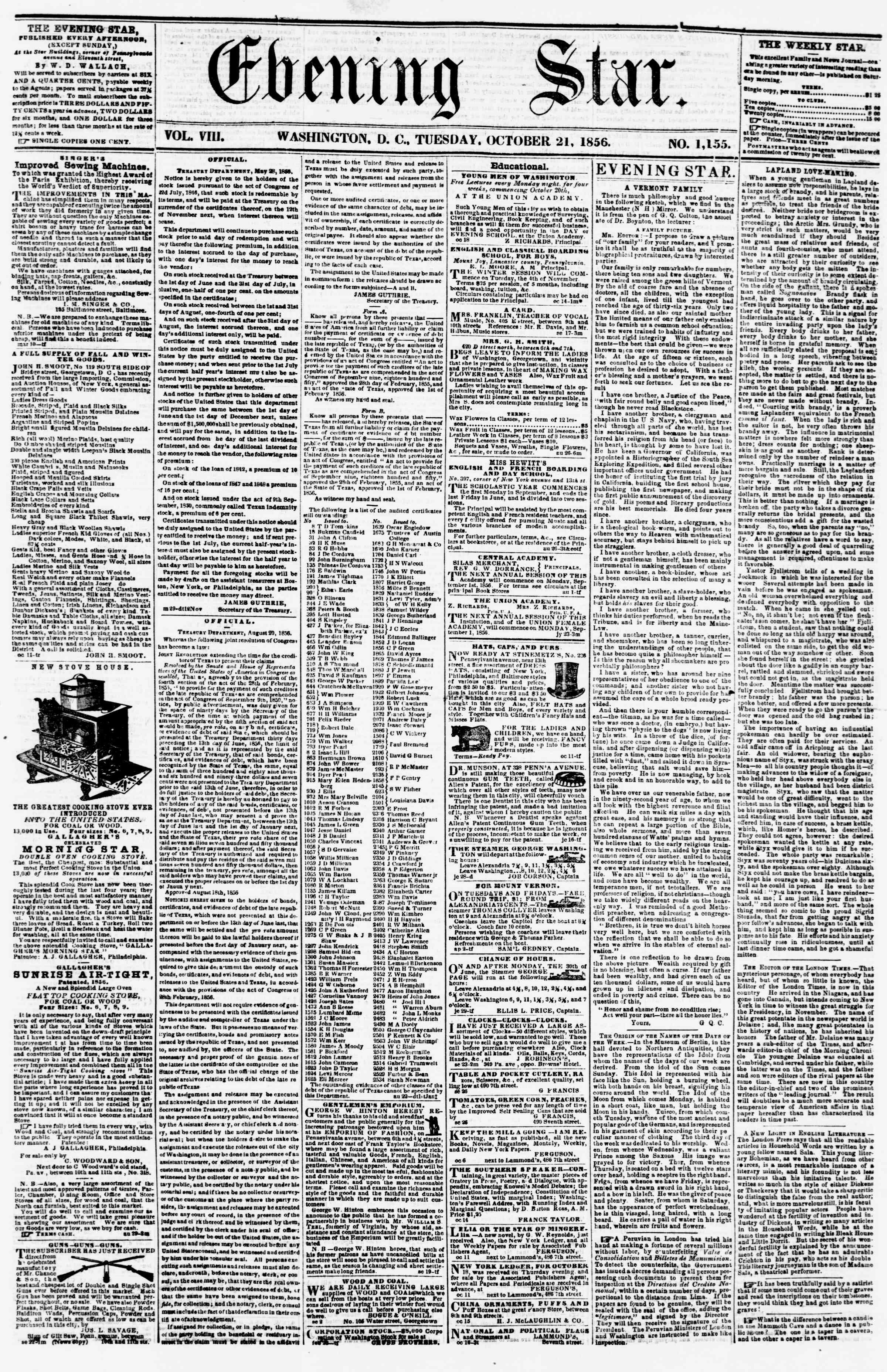 Newspaper of Evening Star dated October 21, 1856 Page 1