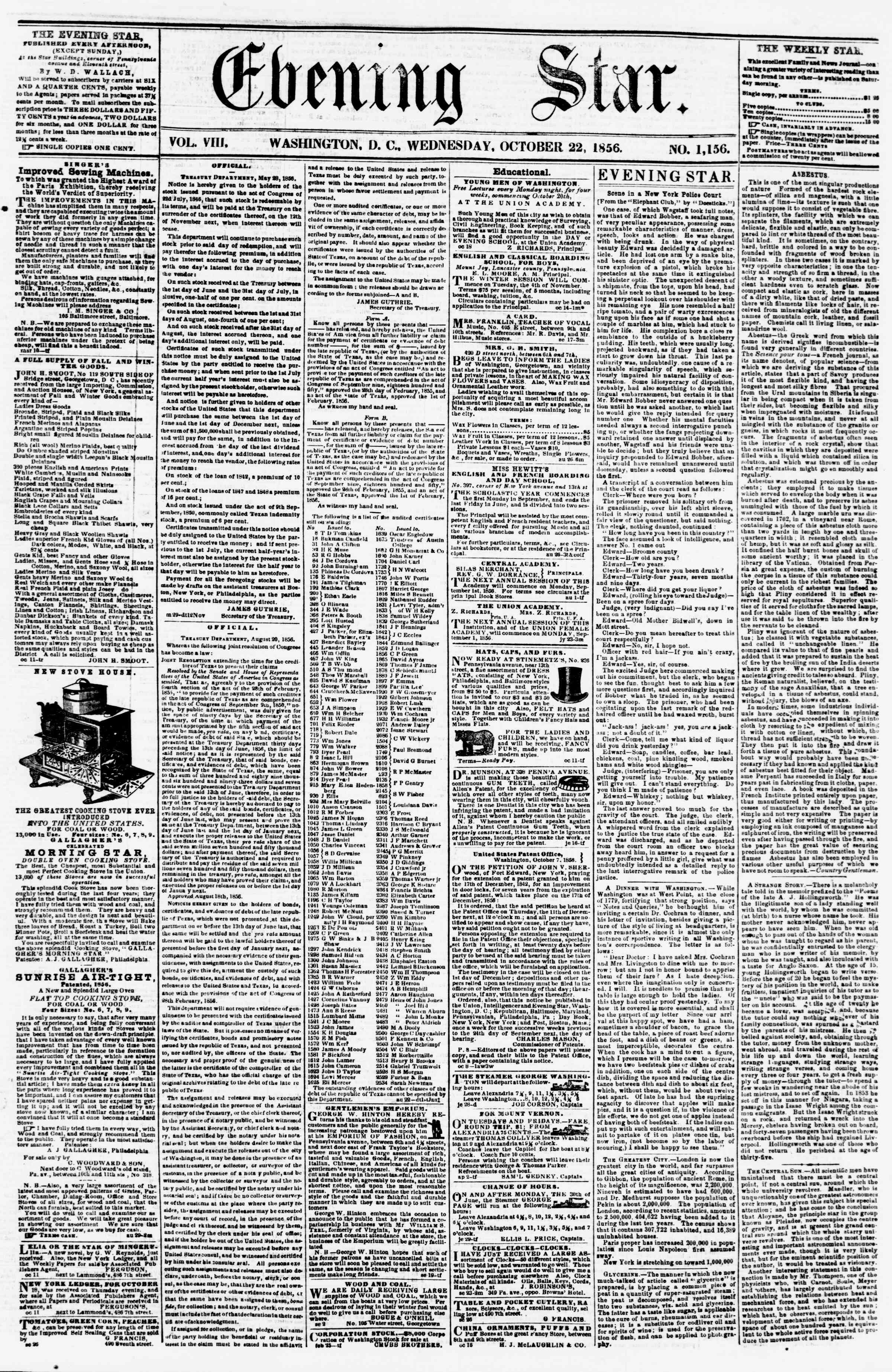 Newspaper of Evening Star dated October 22, 1856 Page 1