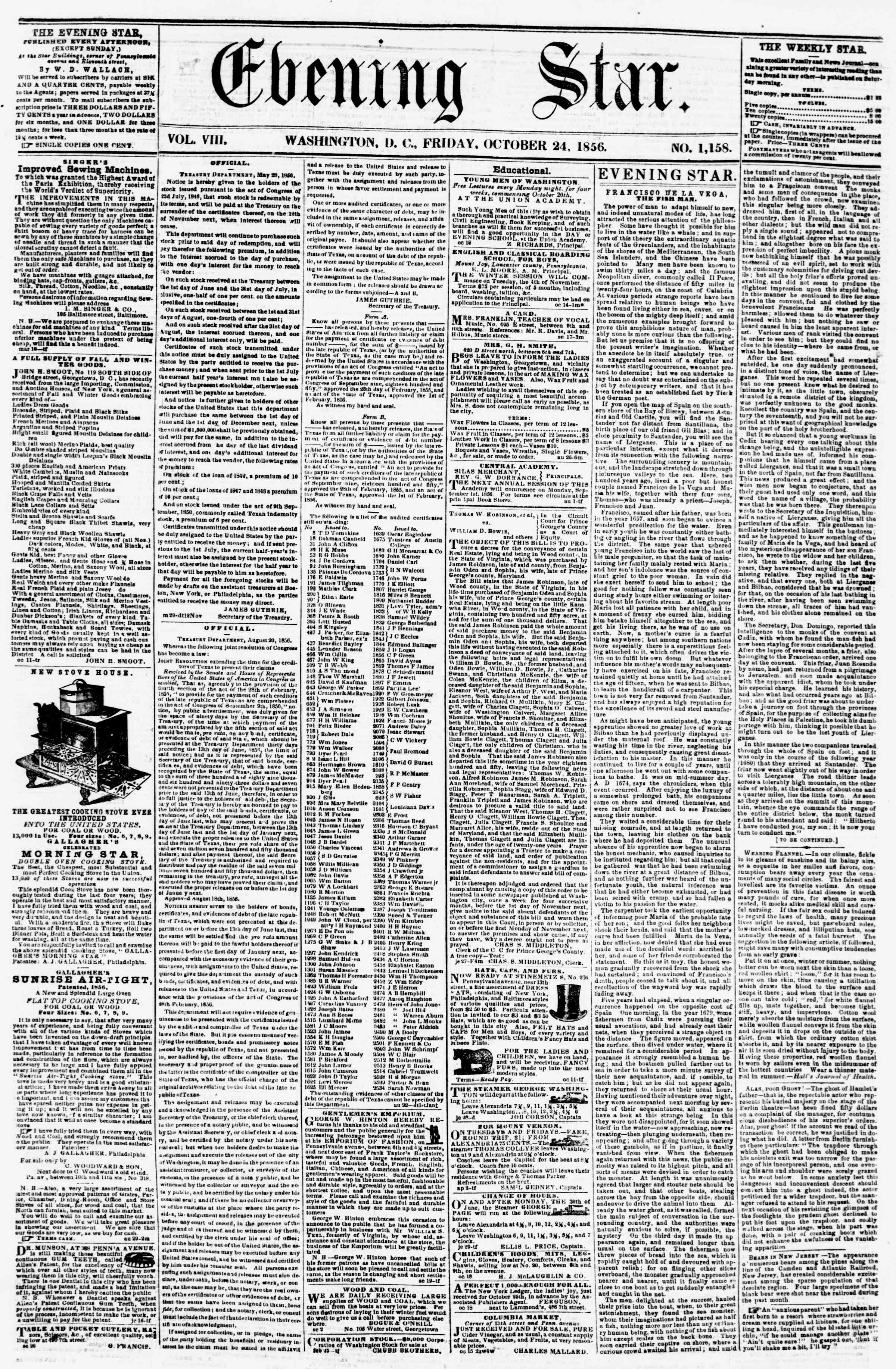 Newspaper of Evening Star dated October 24, 1856 Page 1