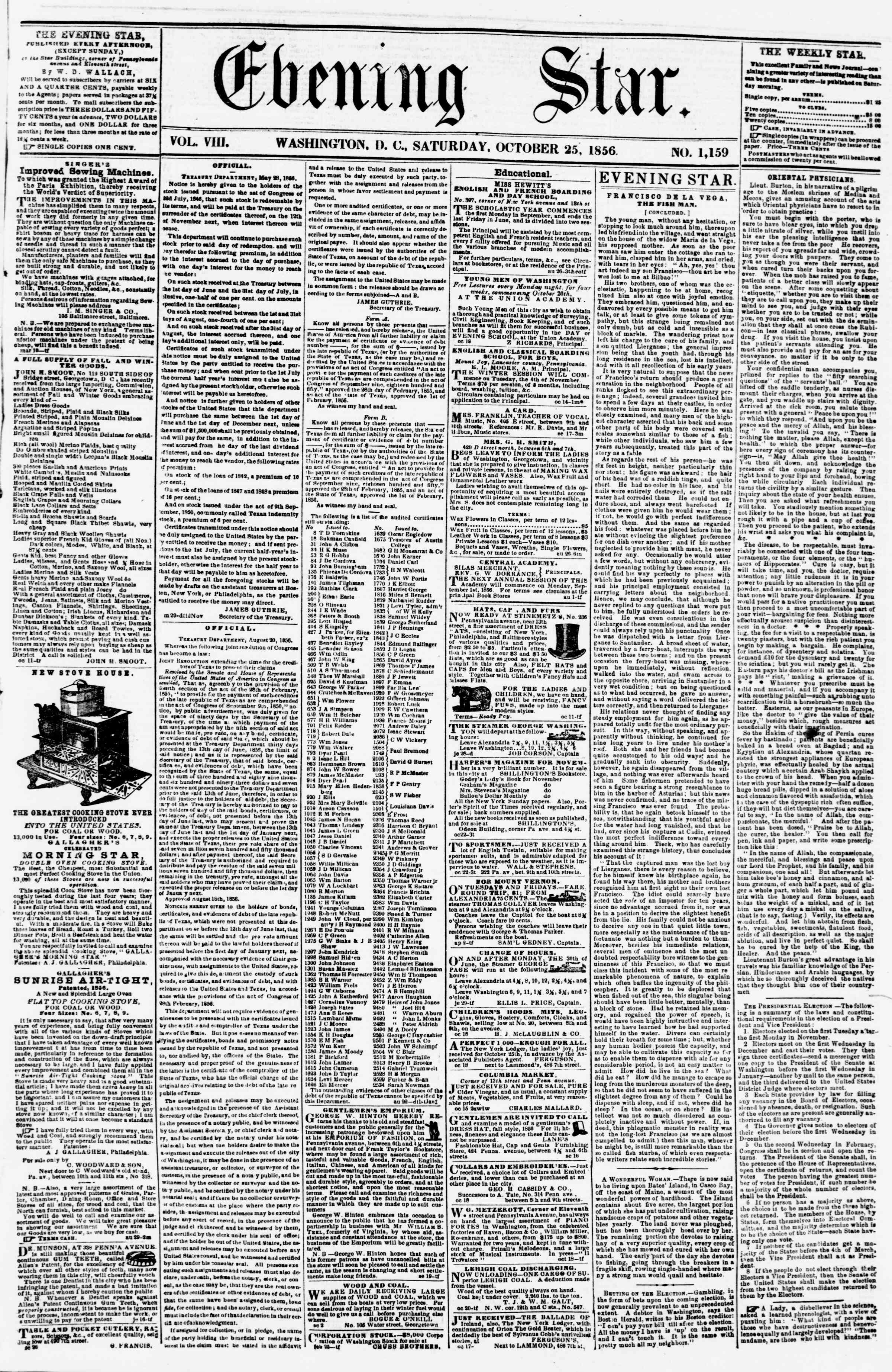 Newspaper of Evening Star dated October 25, 1856 Page 1