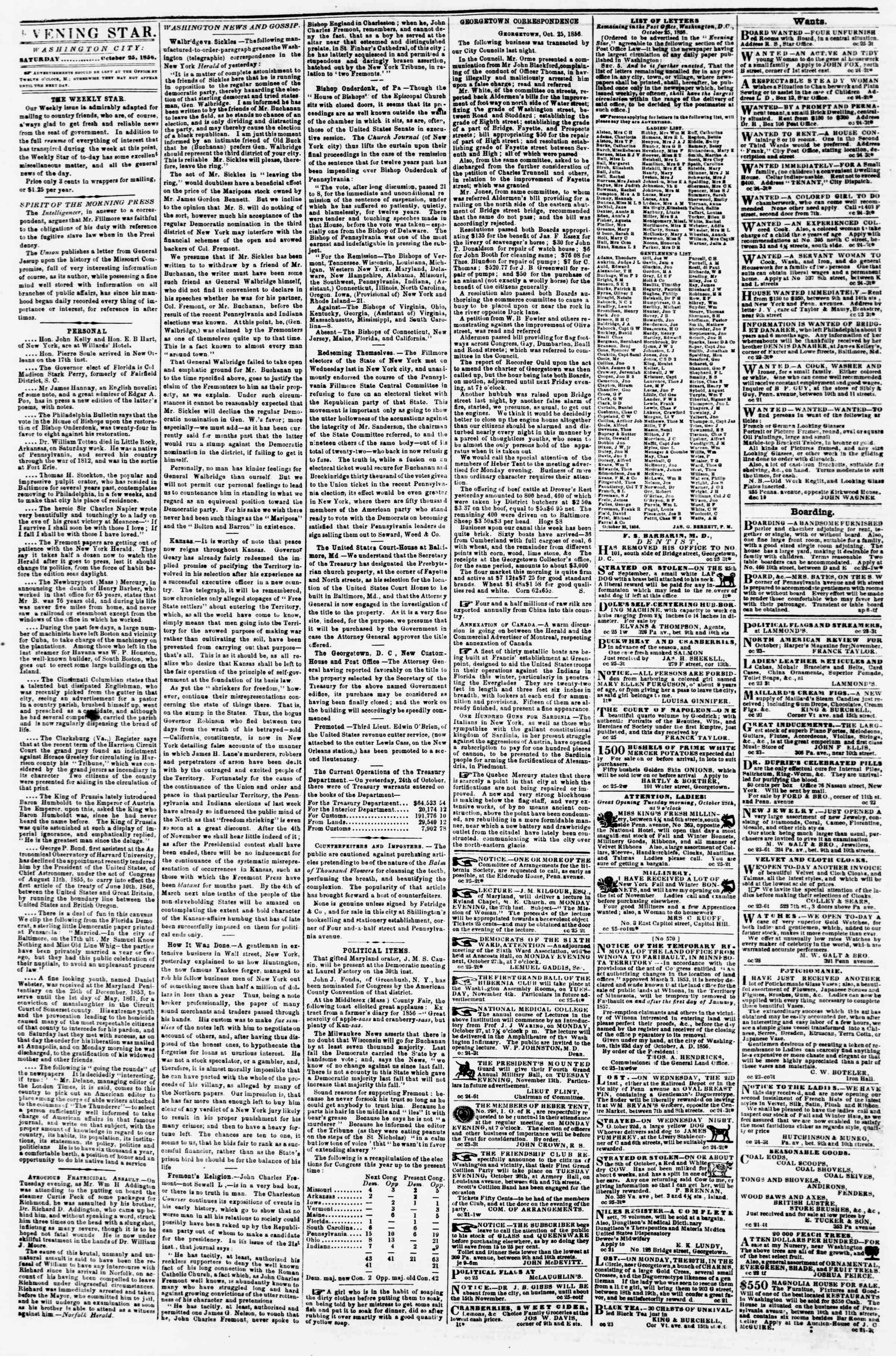 Newspaper of Evening Star dated October 25, 1856 Page 2