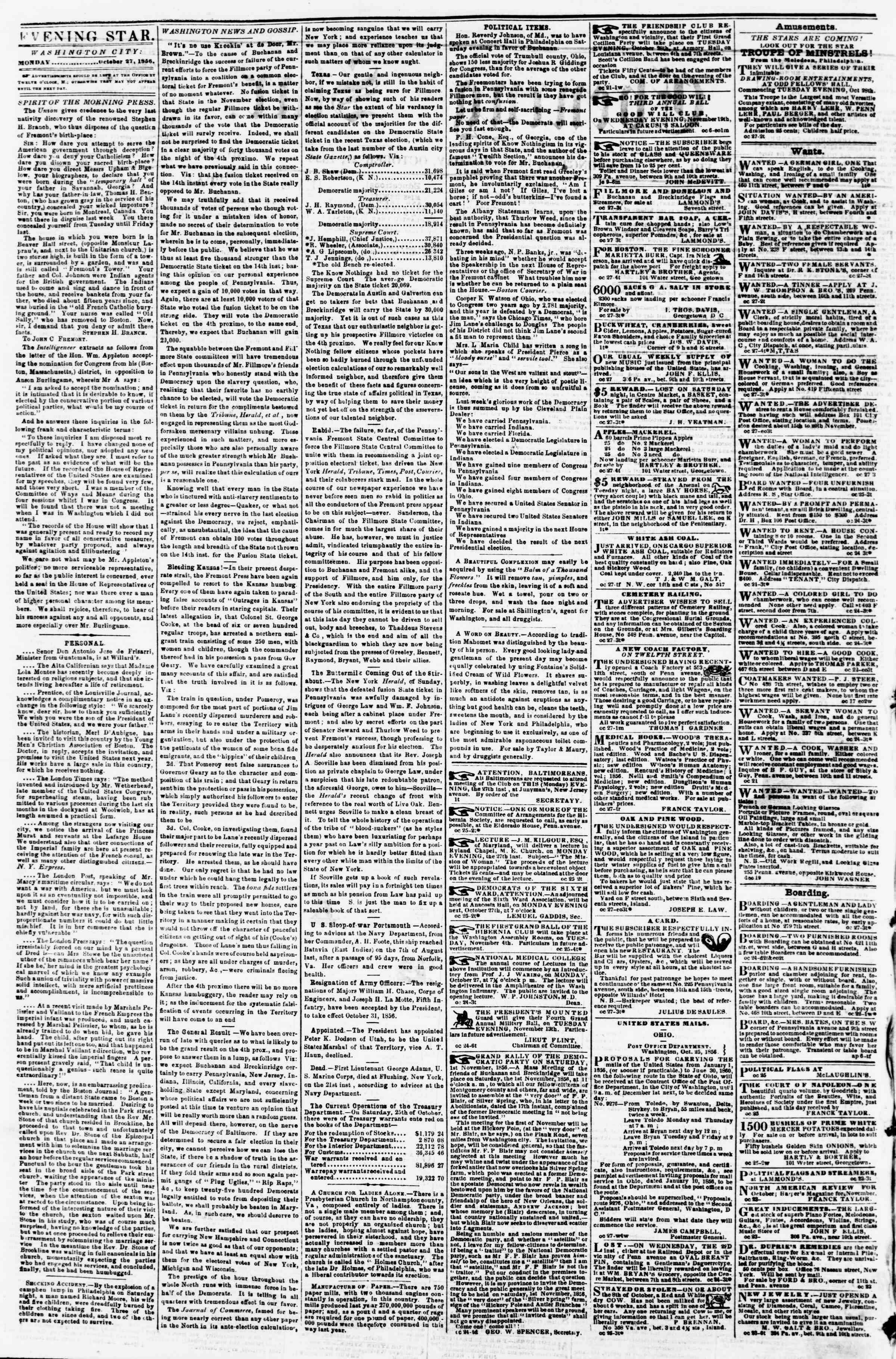 Newspaper of Evening Star dated October 27, 1856 Page 2