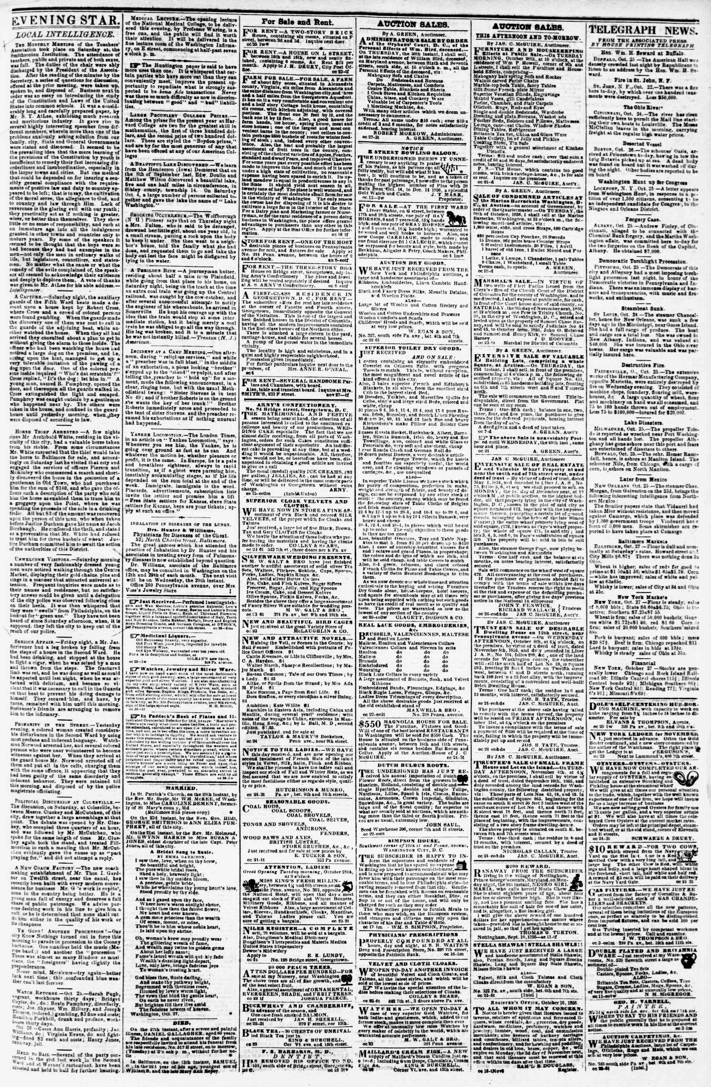 Newspaper of Evening Star dated October 27, 1856 Page 3
