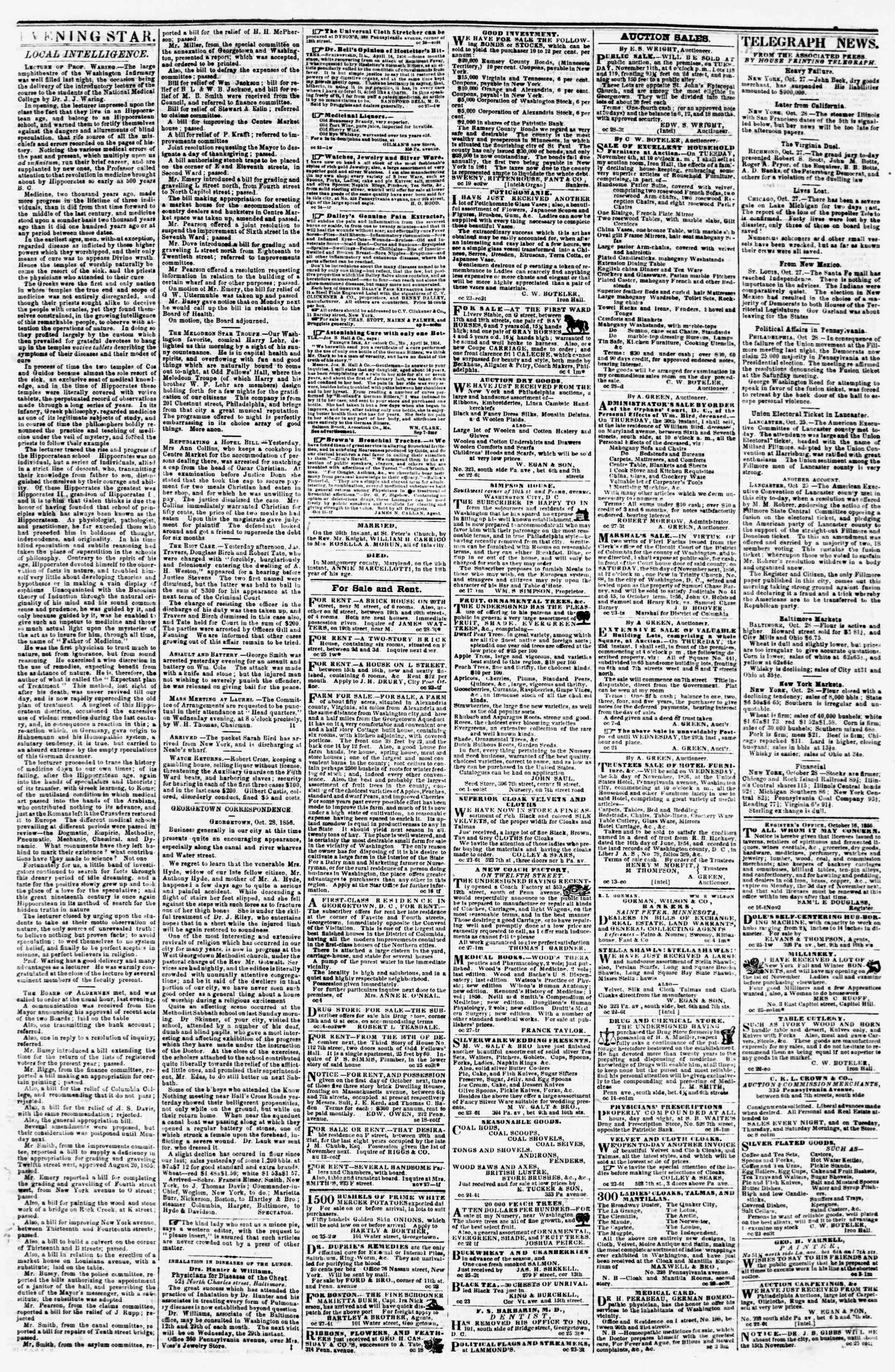Newspaper of Evening Star dated October 28, 1856 Page 3