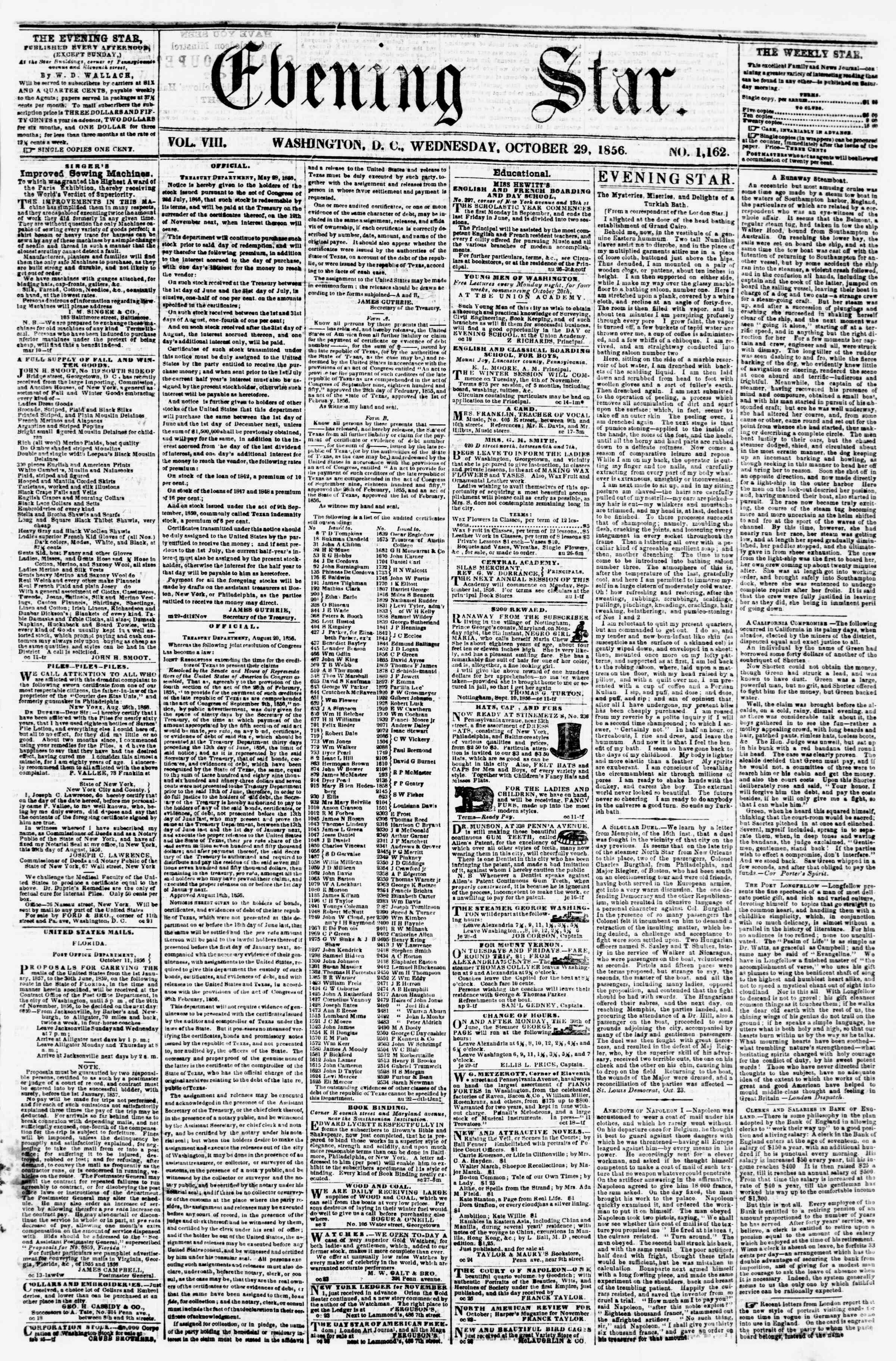 Newspaper of Evening Star dated October 29, 1856 Page 1