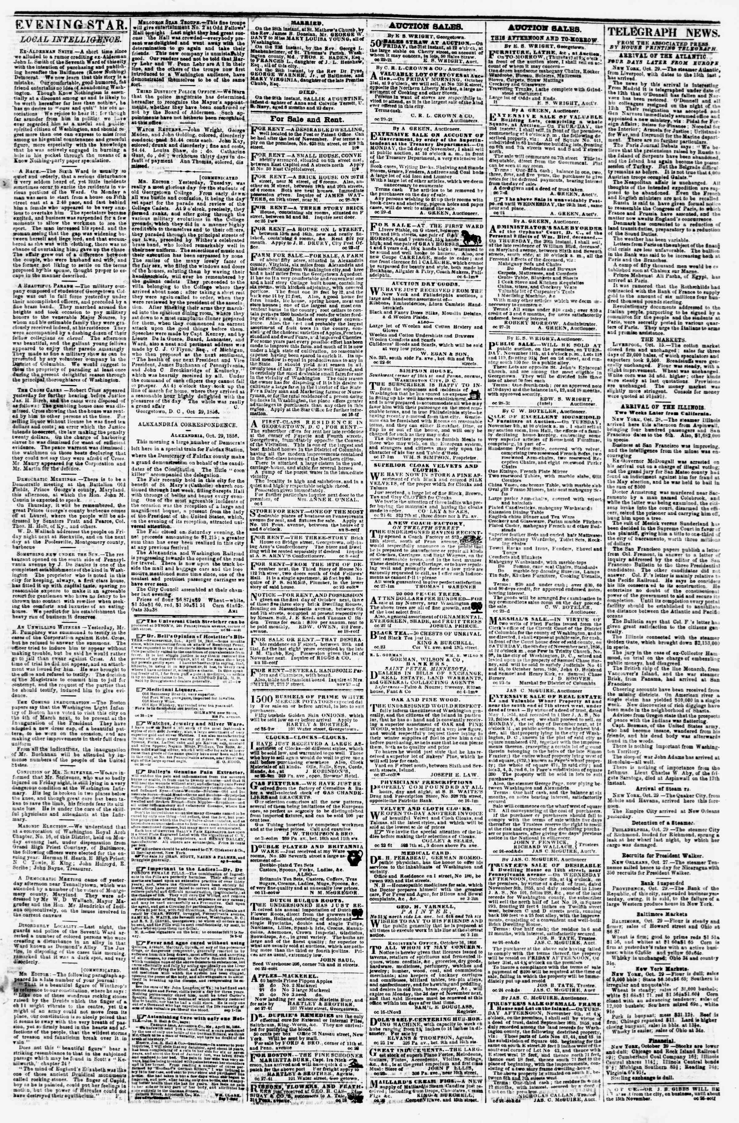 Newspaper of Evening Star dated October 29, 1856 Page 3