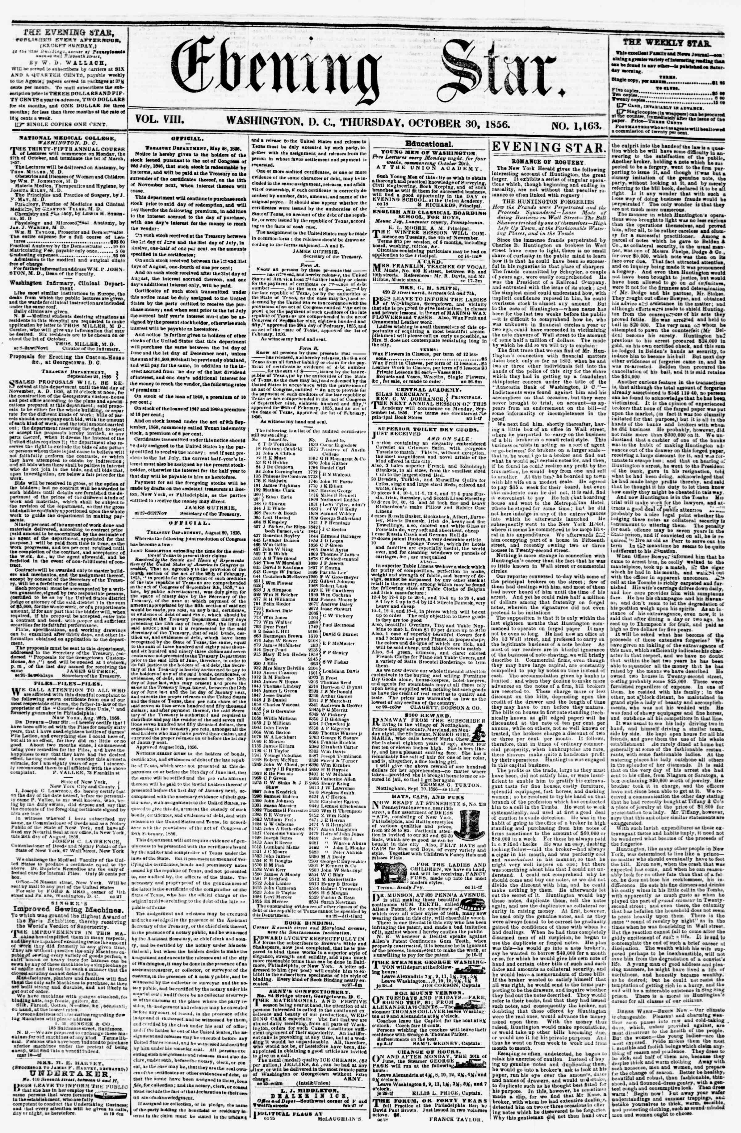 Newspaper of Evening Star dated October 30, 1856 Page 1