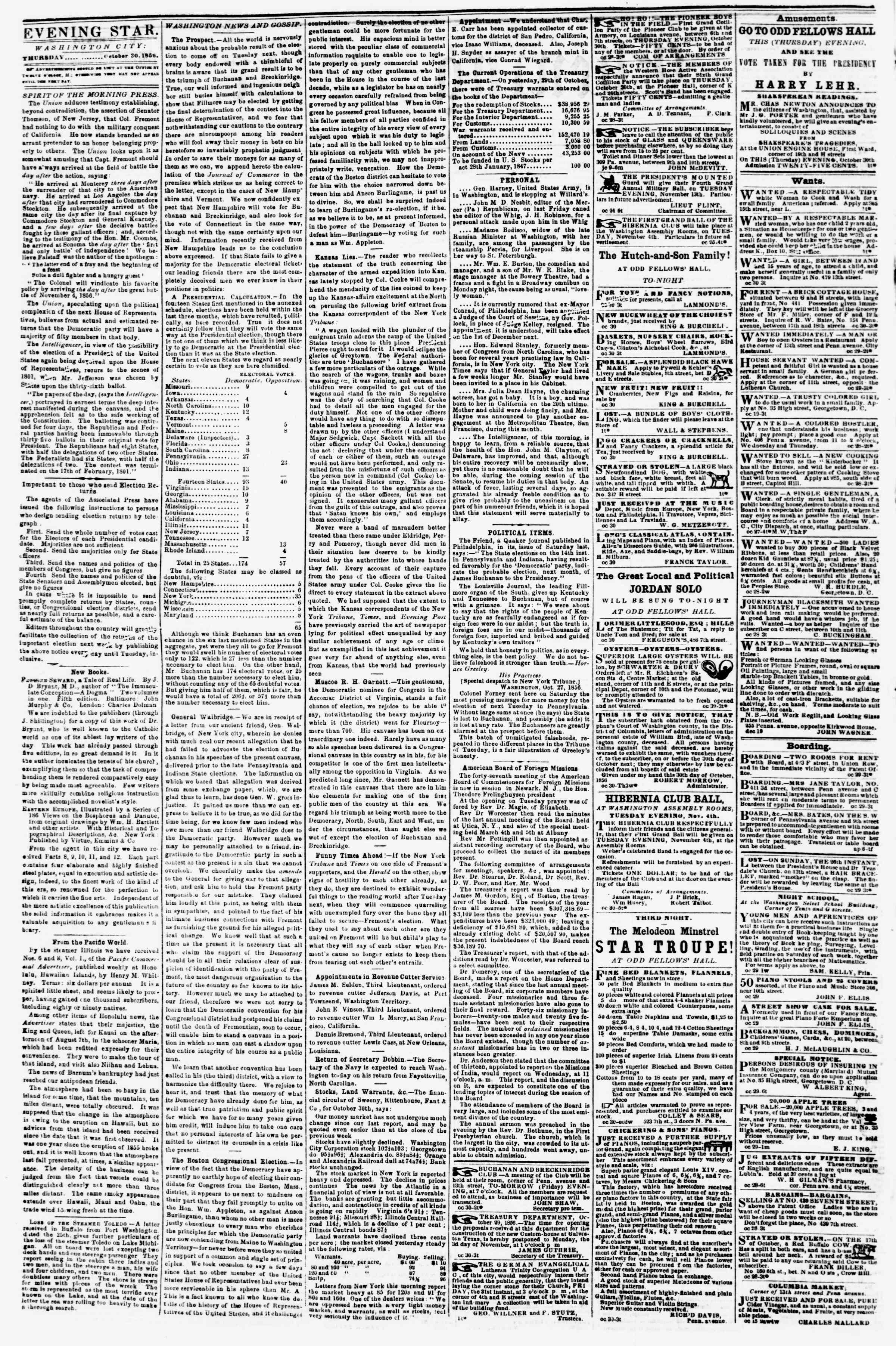 Newspaper of Evening Star dated October 30, 1856 Page 2