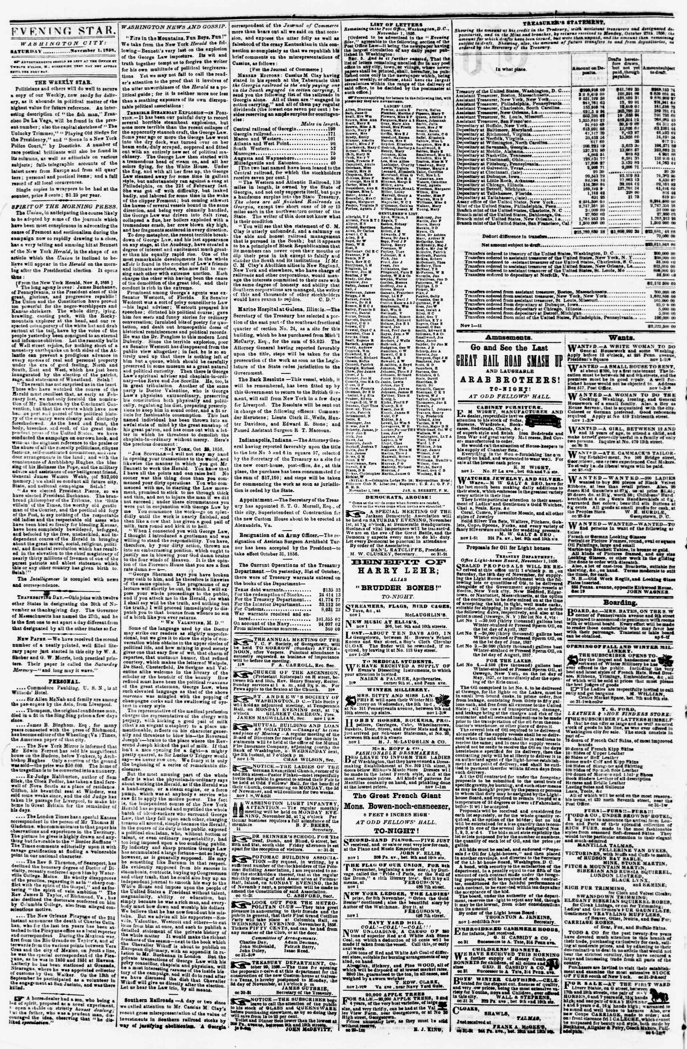 Newspaper of Evening Star dated November 1, 1856 Page 2