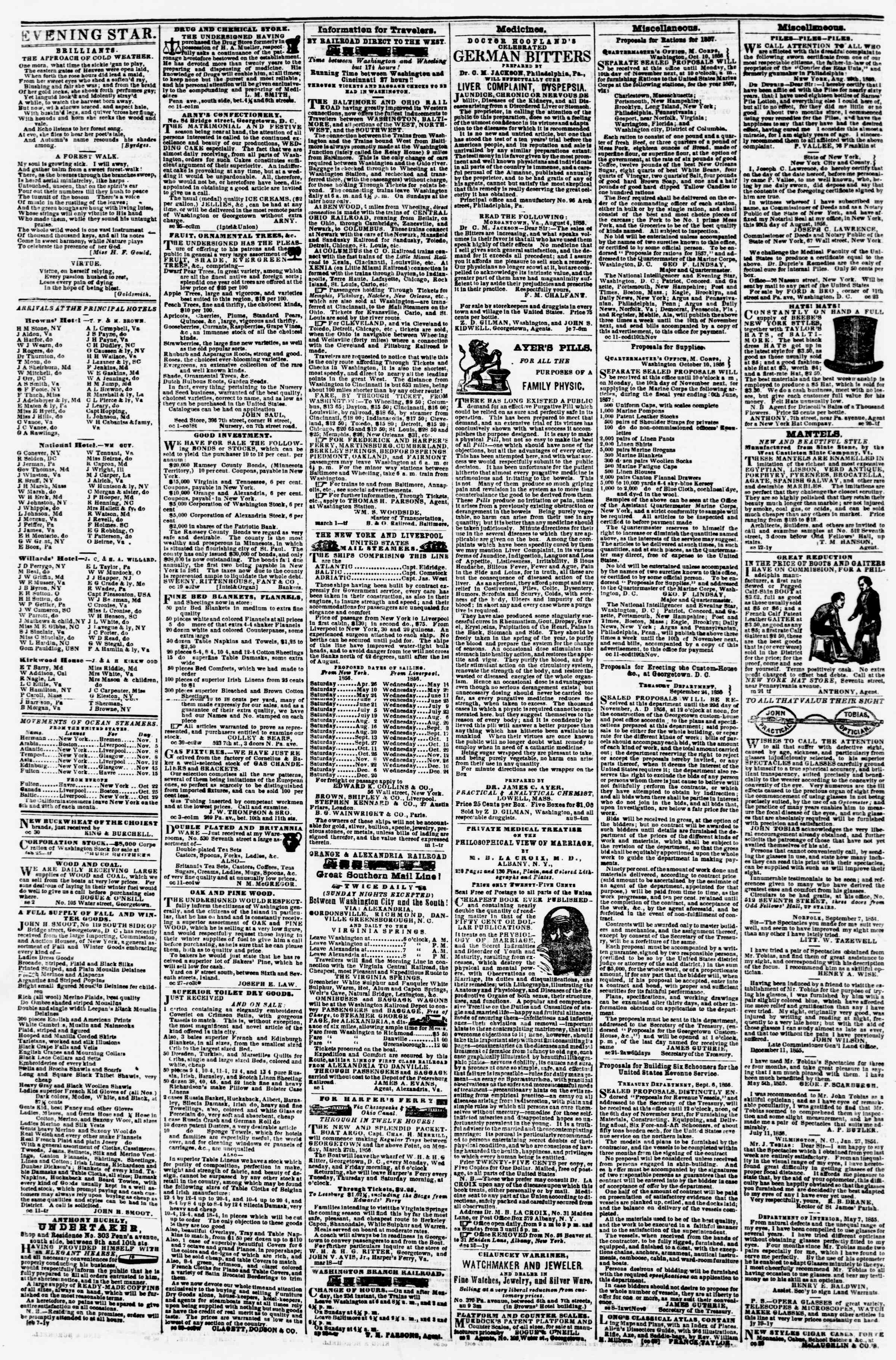Newspaper of Evening Star dated November 1, 1856 Page 4