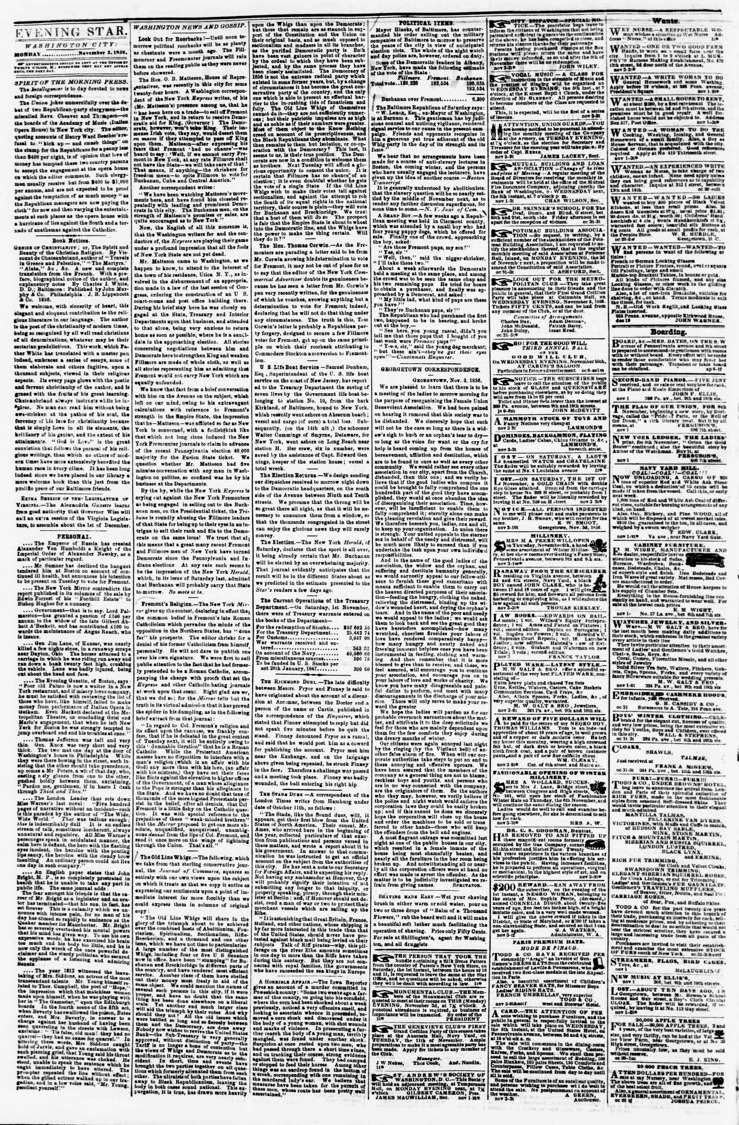Newspaper of Evening Star dated November 3, 1856 Page 2