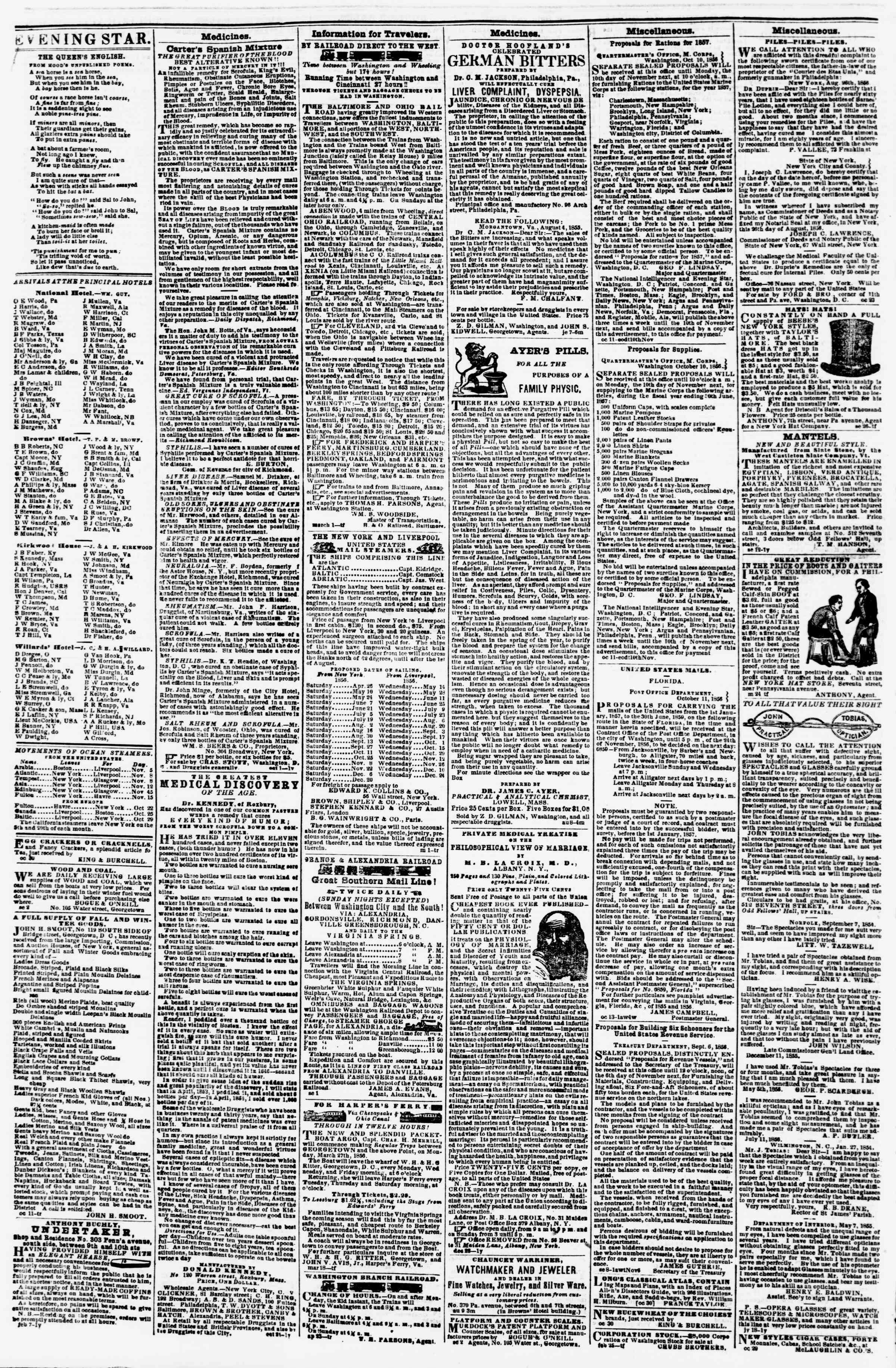Newspaper of Evening Star dated November 3, 1856 Page 4