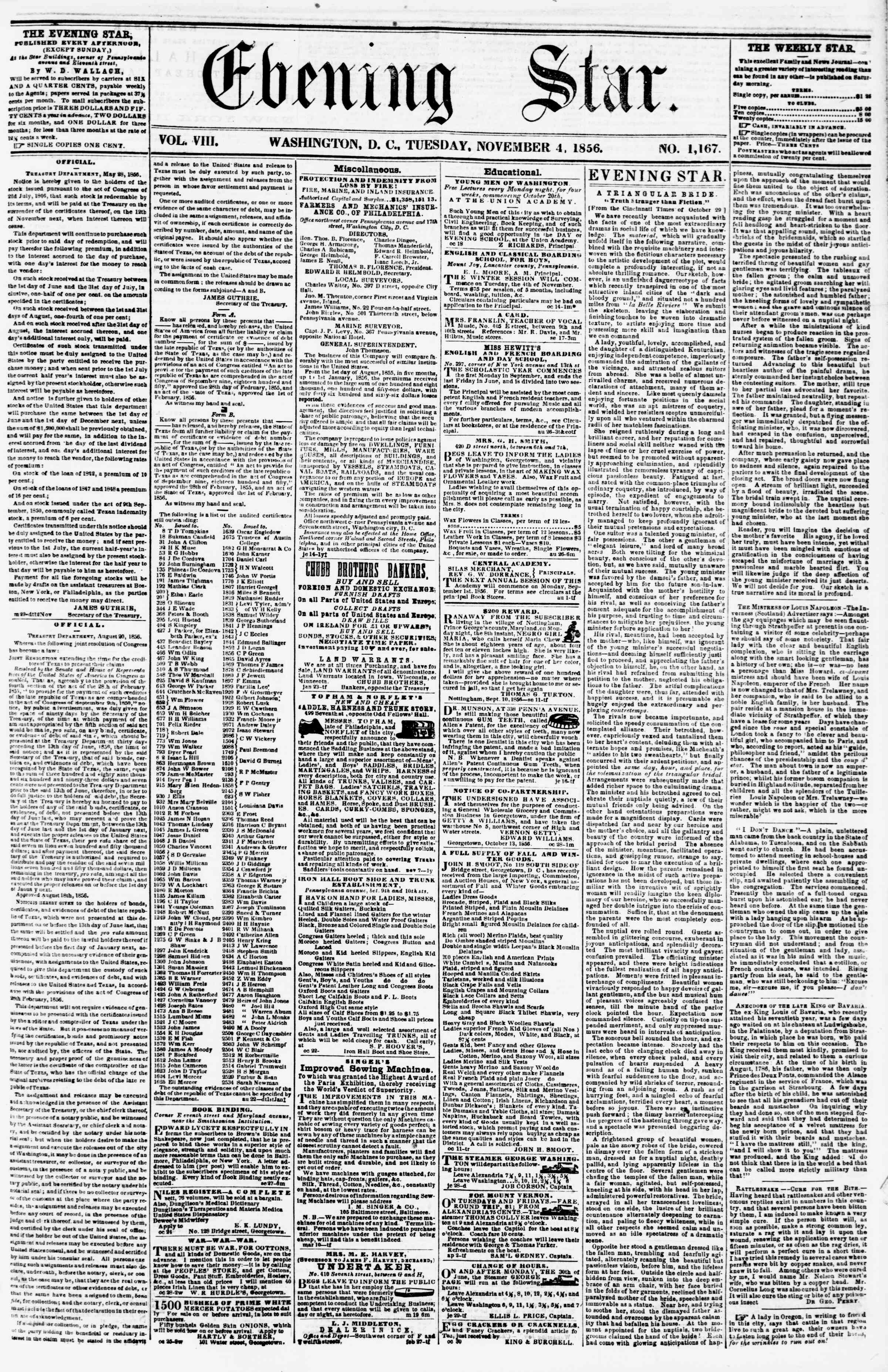 Newspaper of Evening Star dated November 4, 1856 Page 1