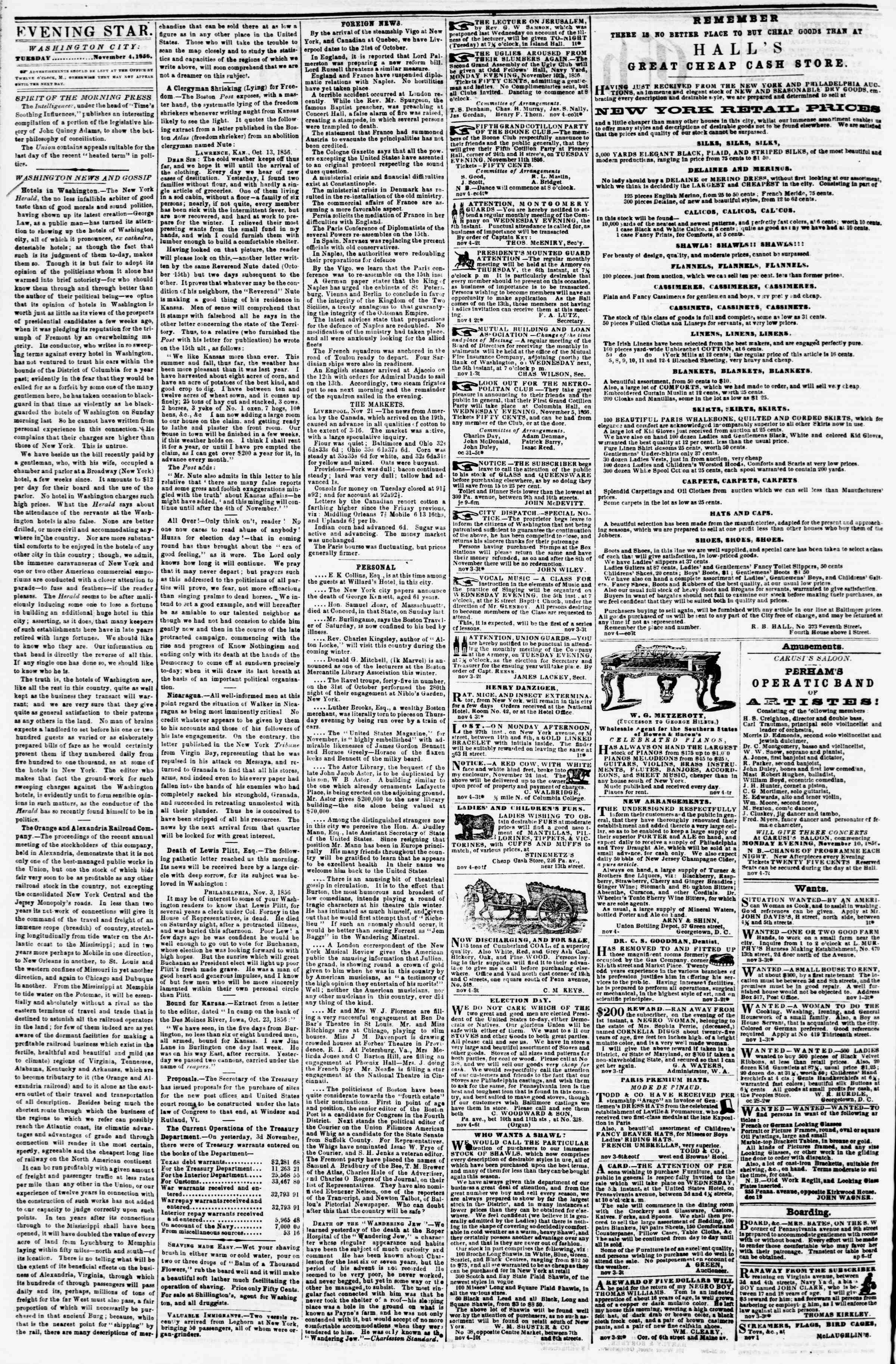 Newspaper of Evening Star dated November 4, 1856 Page 2