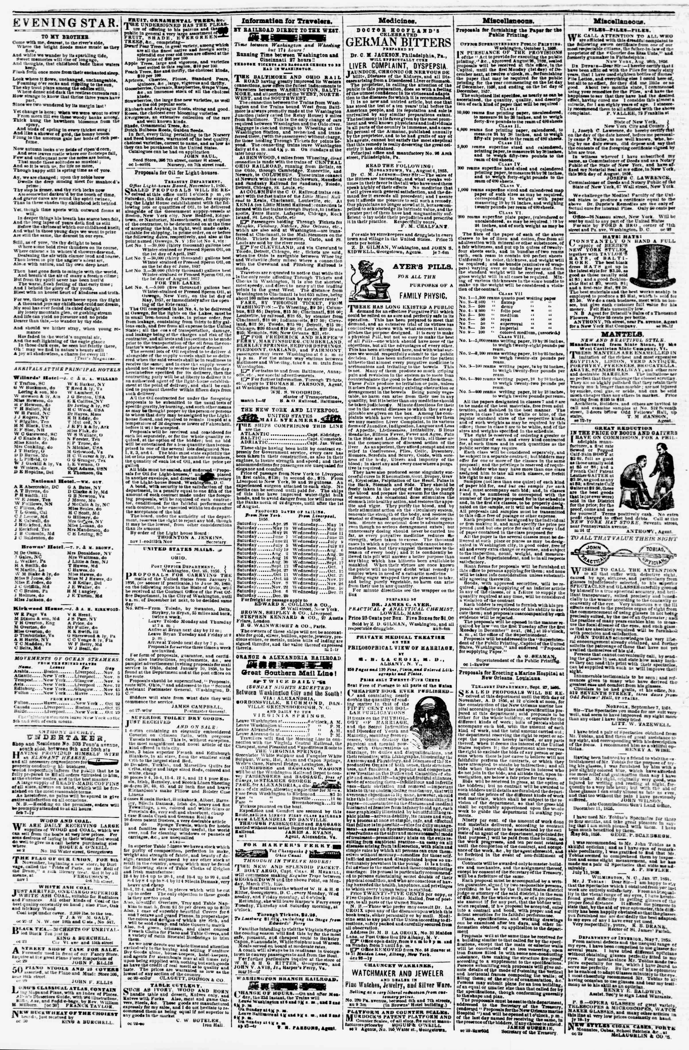 Newspaper of Evening Star dated November 4, 1856 Page 5