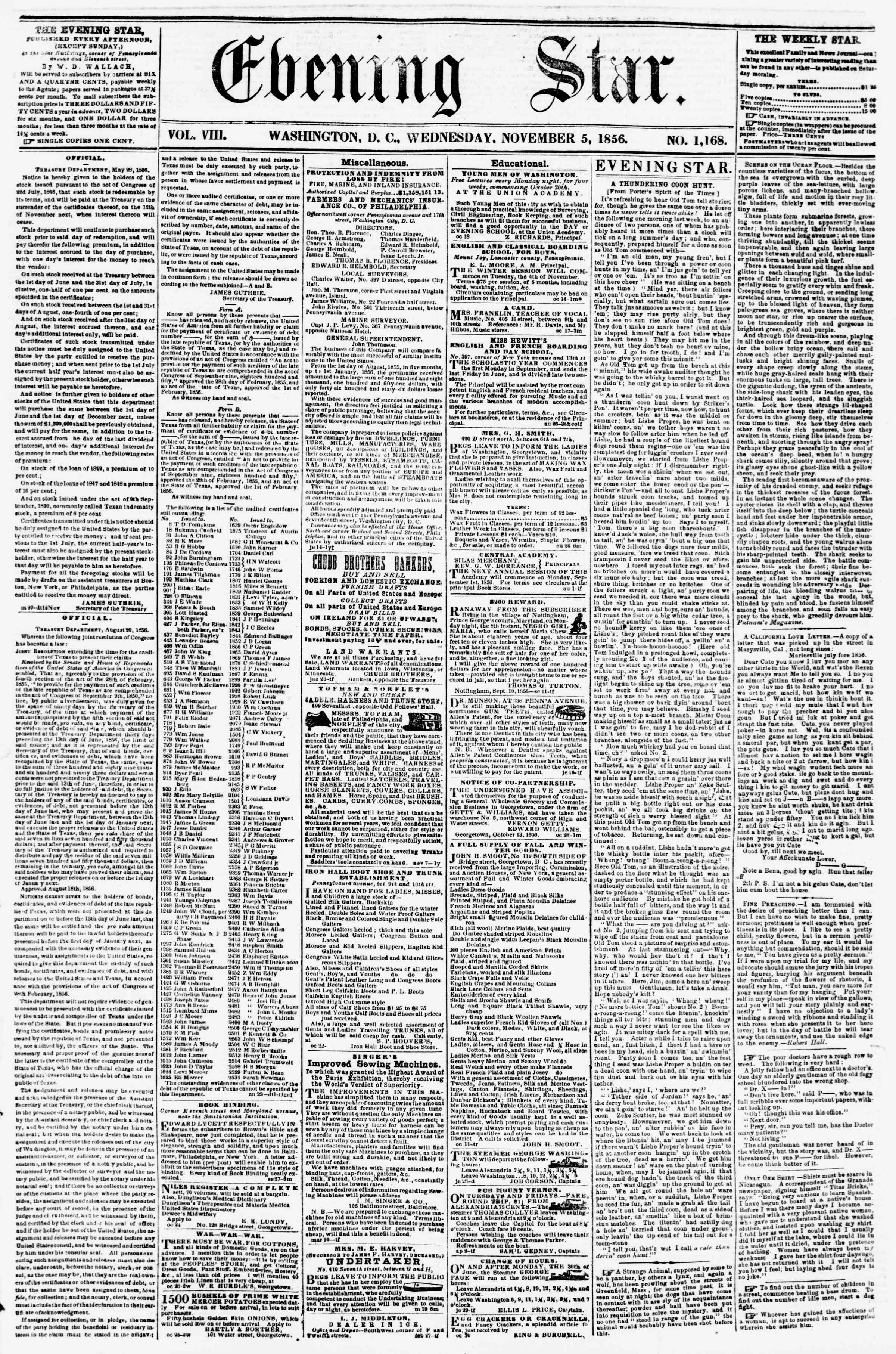 Newspaper of Evening Star dated November 5, 1856 Page 1