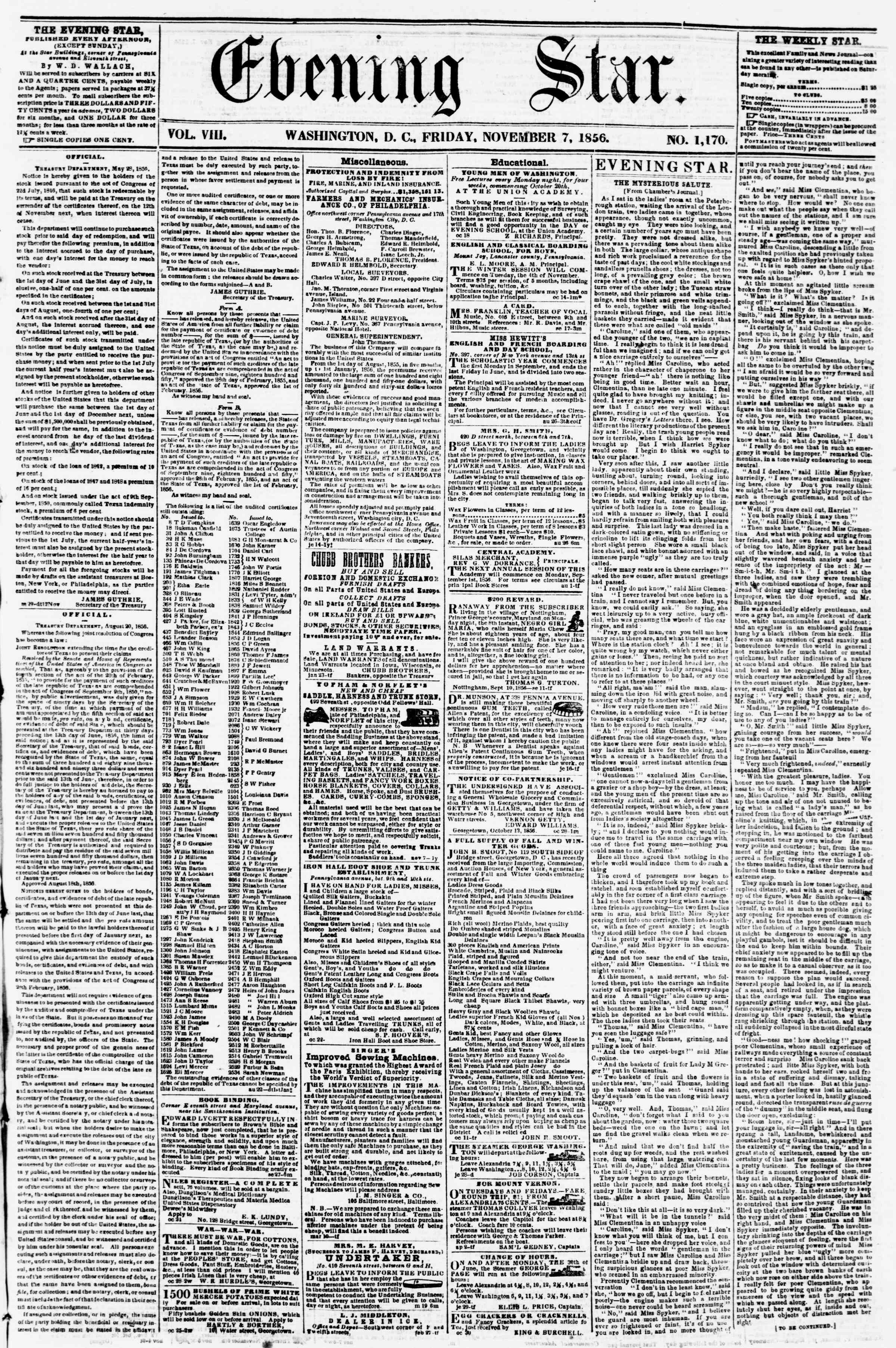 Newspaper of Evening Star dated November 7, 1856 Page 1
