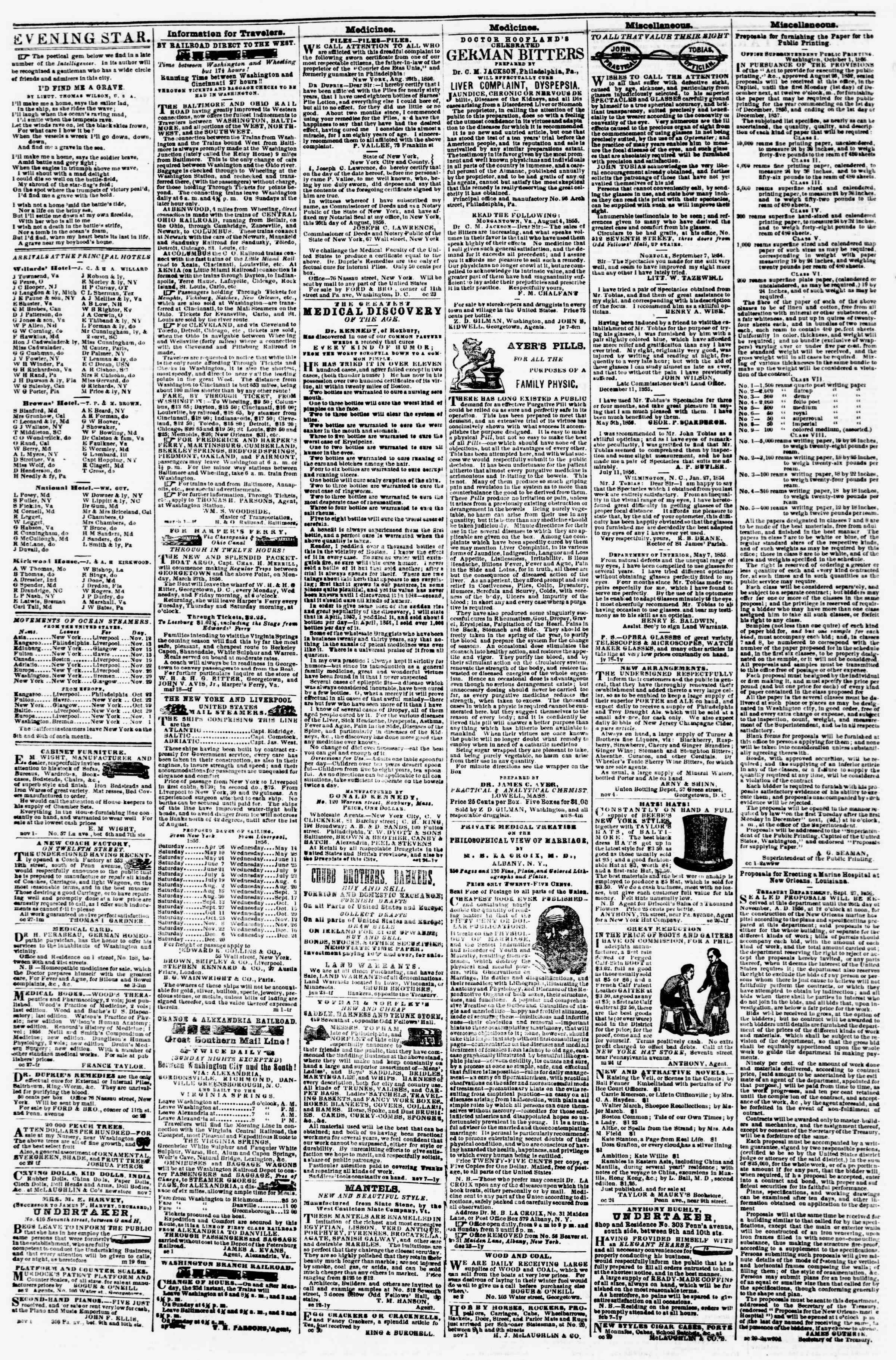 Newspaper of Evening Star dated November 11, 1856 Page 4