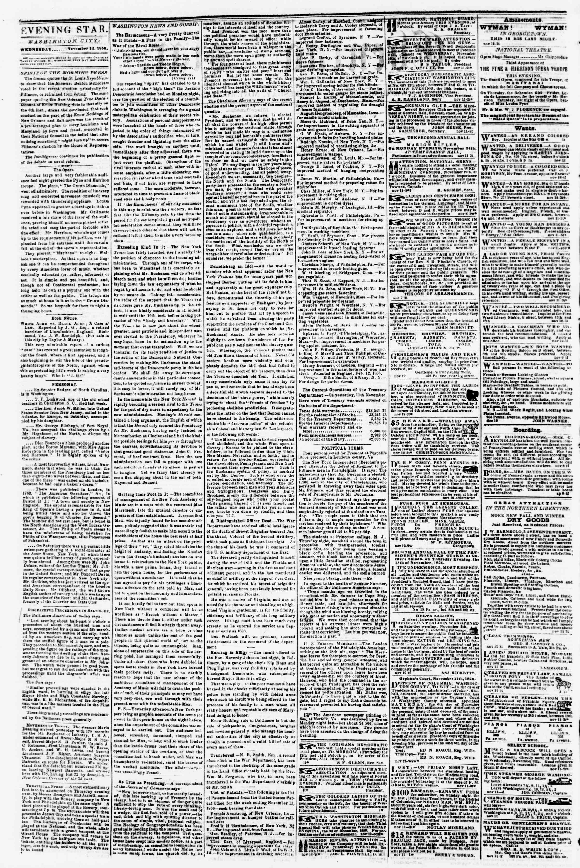 Newspaper of Evening Star dated November 12, 1856 Page 2