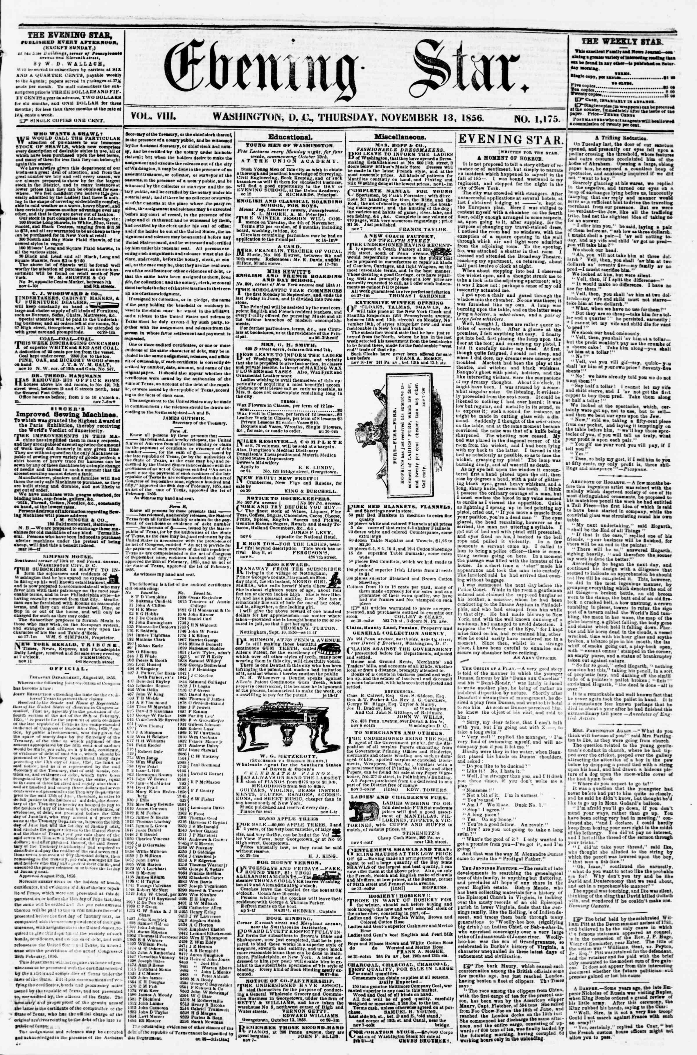 Newspaper of Evening Star dated November 13, 1856 Page 1