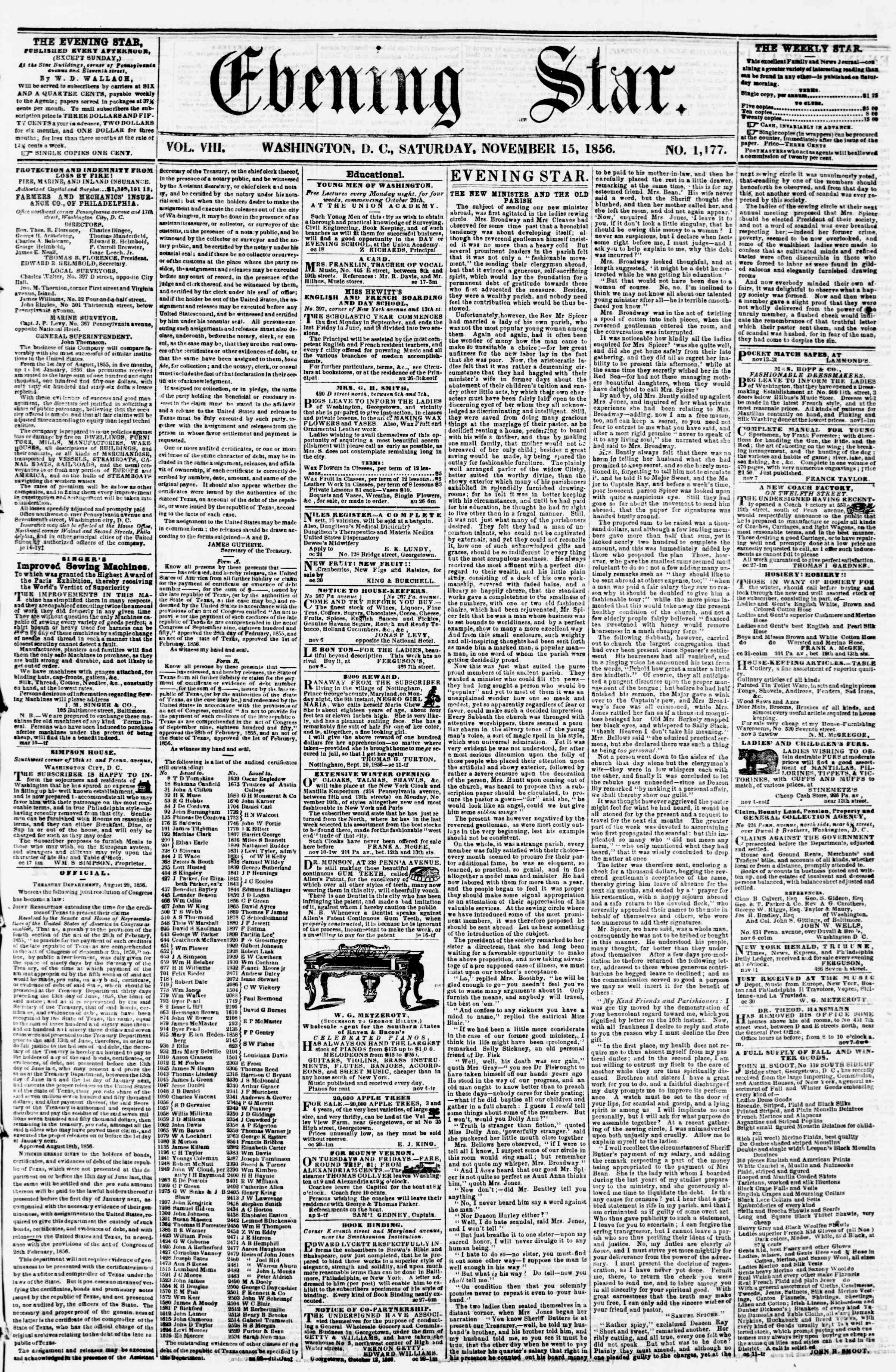 Newspaper of Evening Star dated November 15, 1856 Page 1