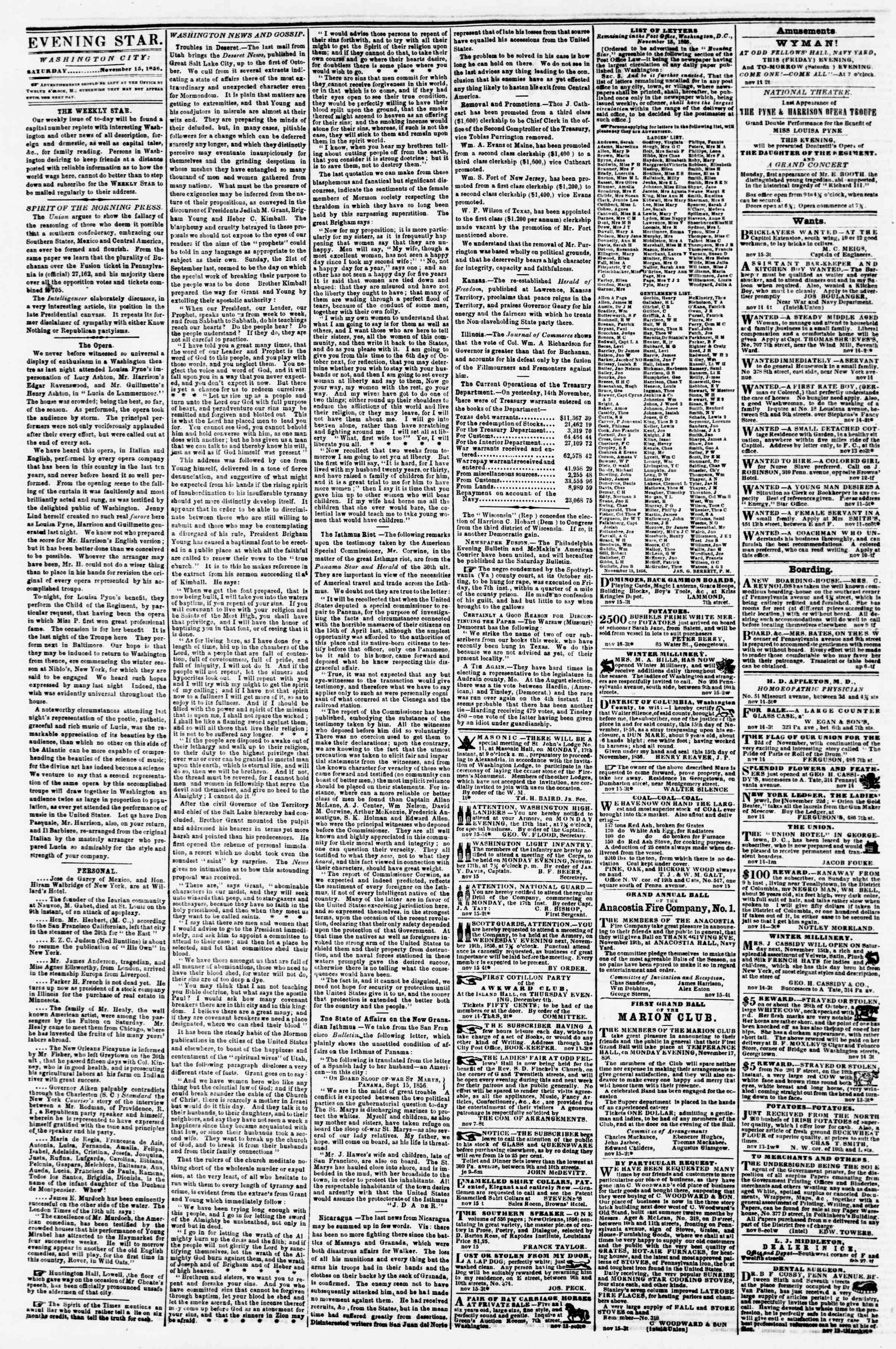 Newspaper of Evening Star dated November 15, 1856 Page 2