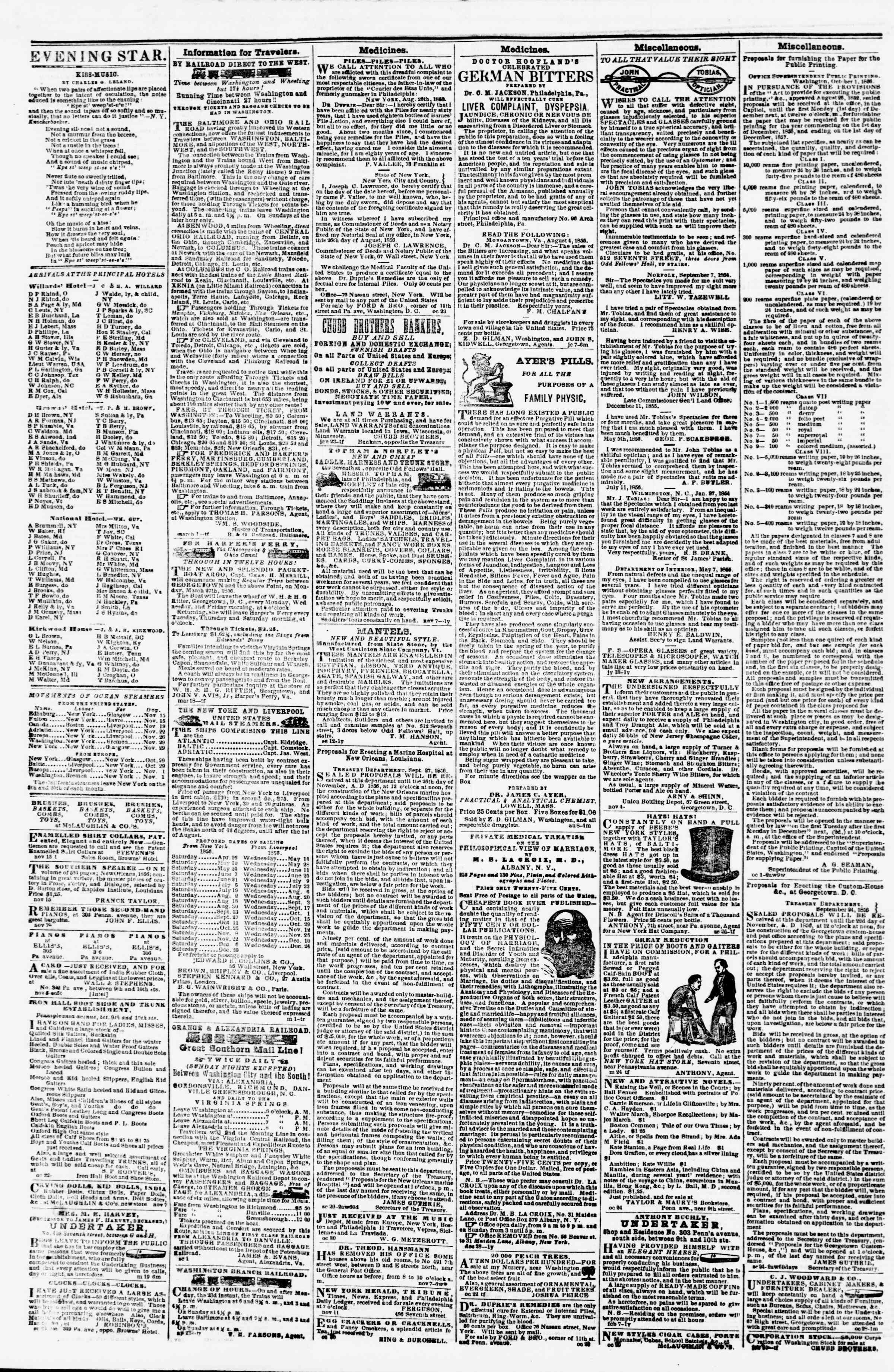 Newspaper of Evening Star dated November 17, 1856 Page 4