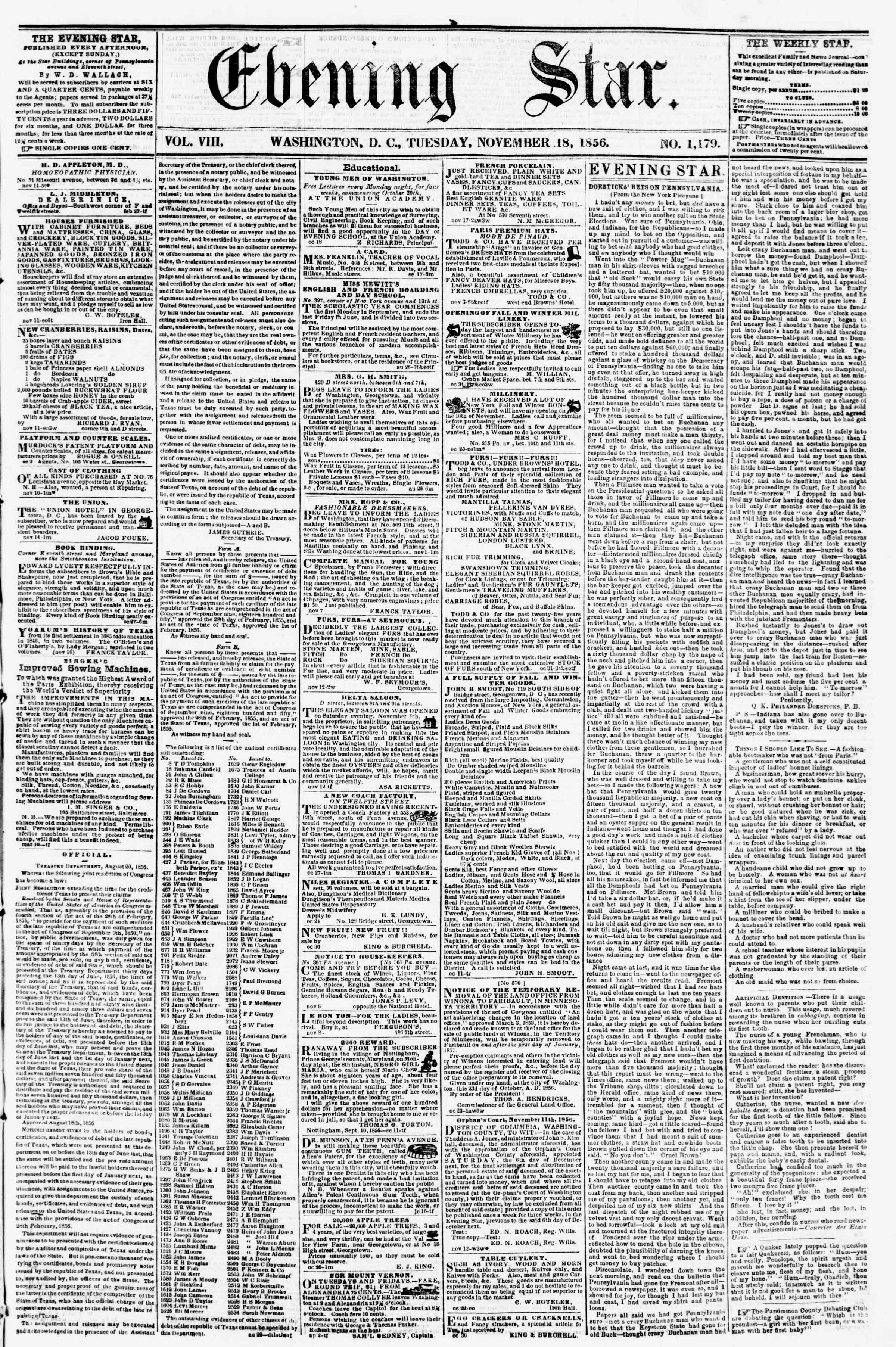 Newspaper of Evening Star dated November 18, 1856 Page 1