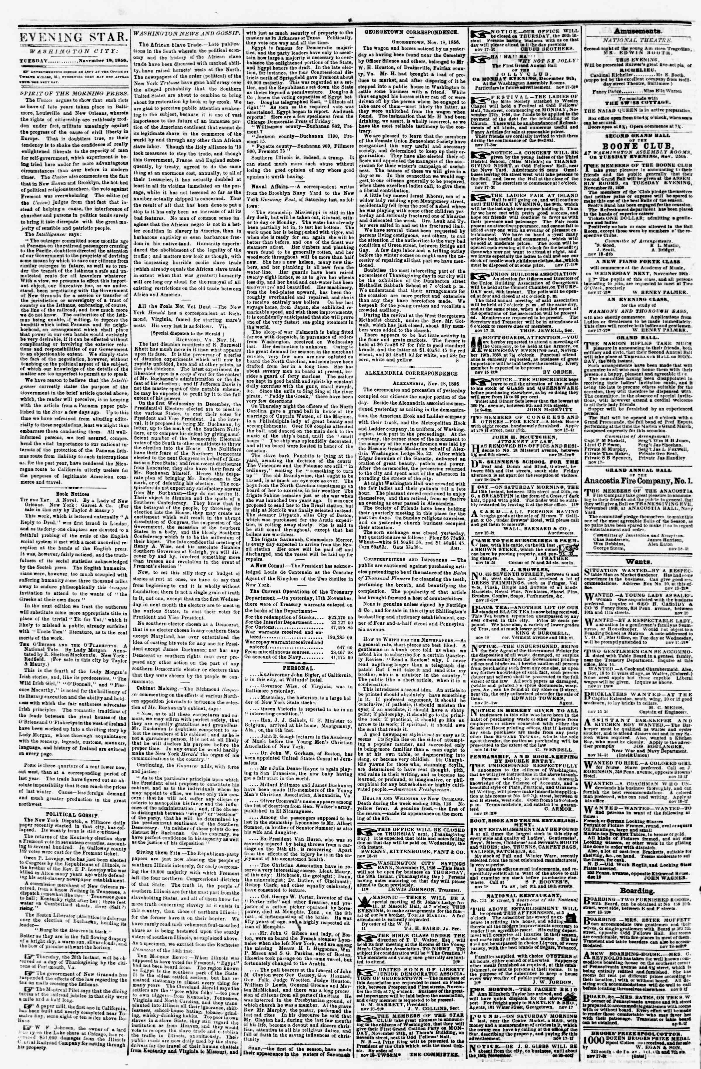 Newspaper of Evening Star dated November 18, 1856 Page 2
