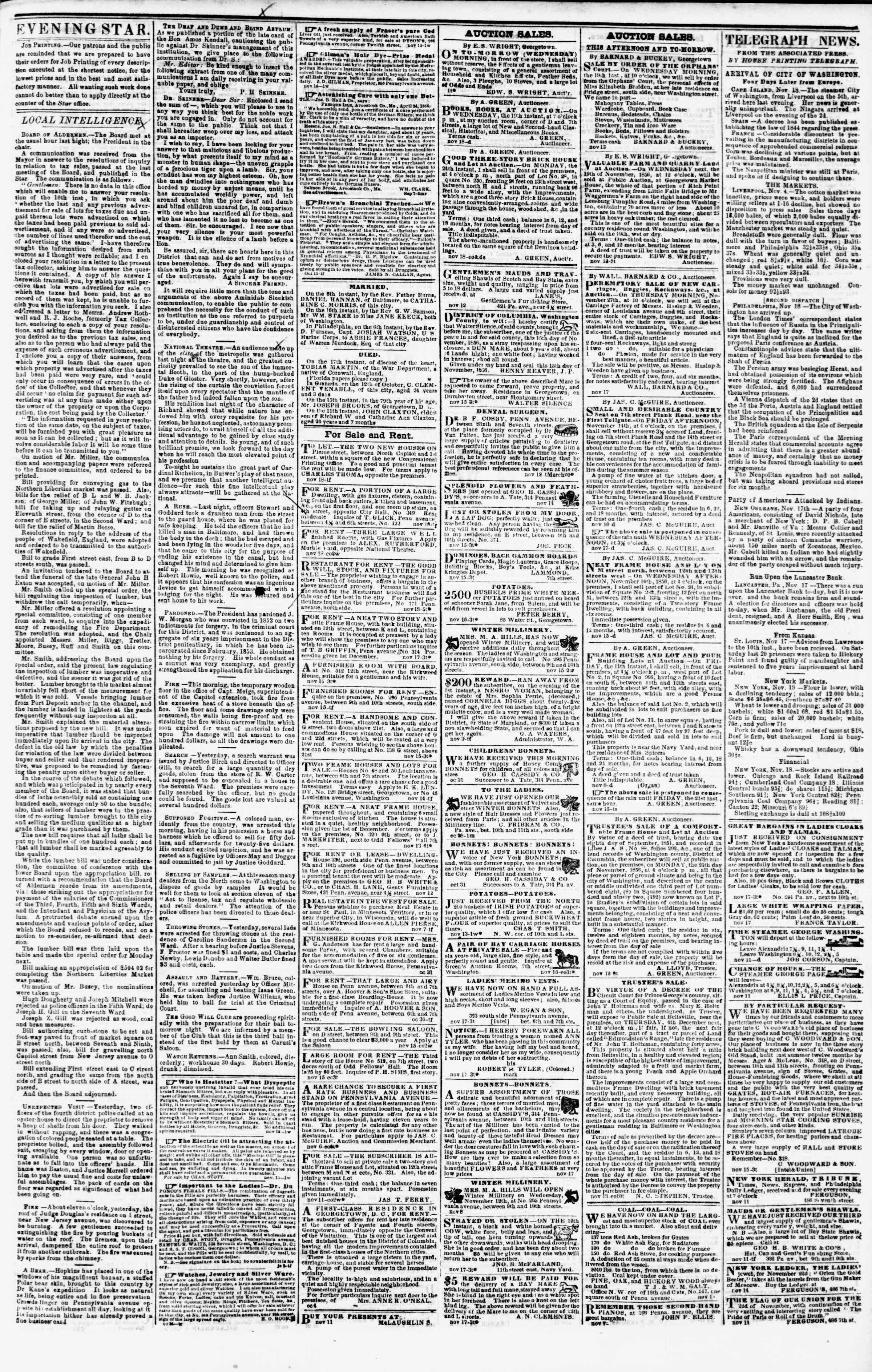 Newspaper of Evening Star dated November 18, 1856 Page 4