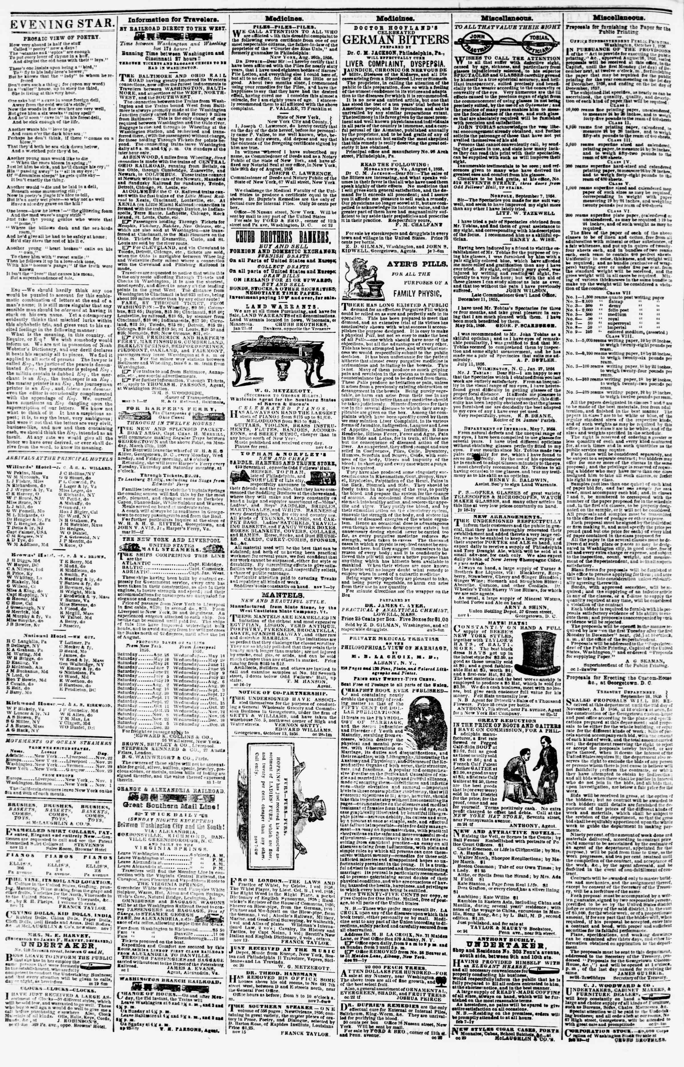 Newspaper of Evening Star dated November 18, 1856 Page 5