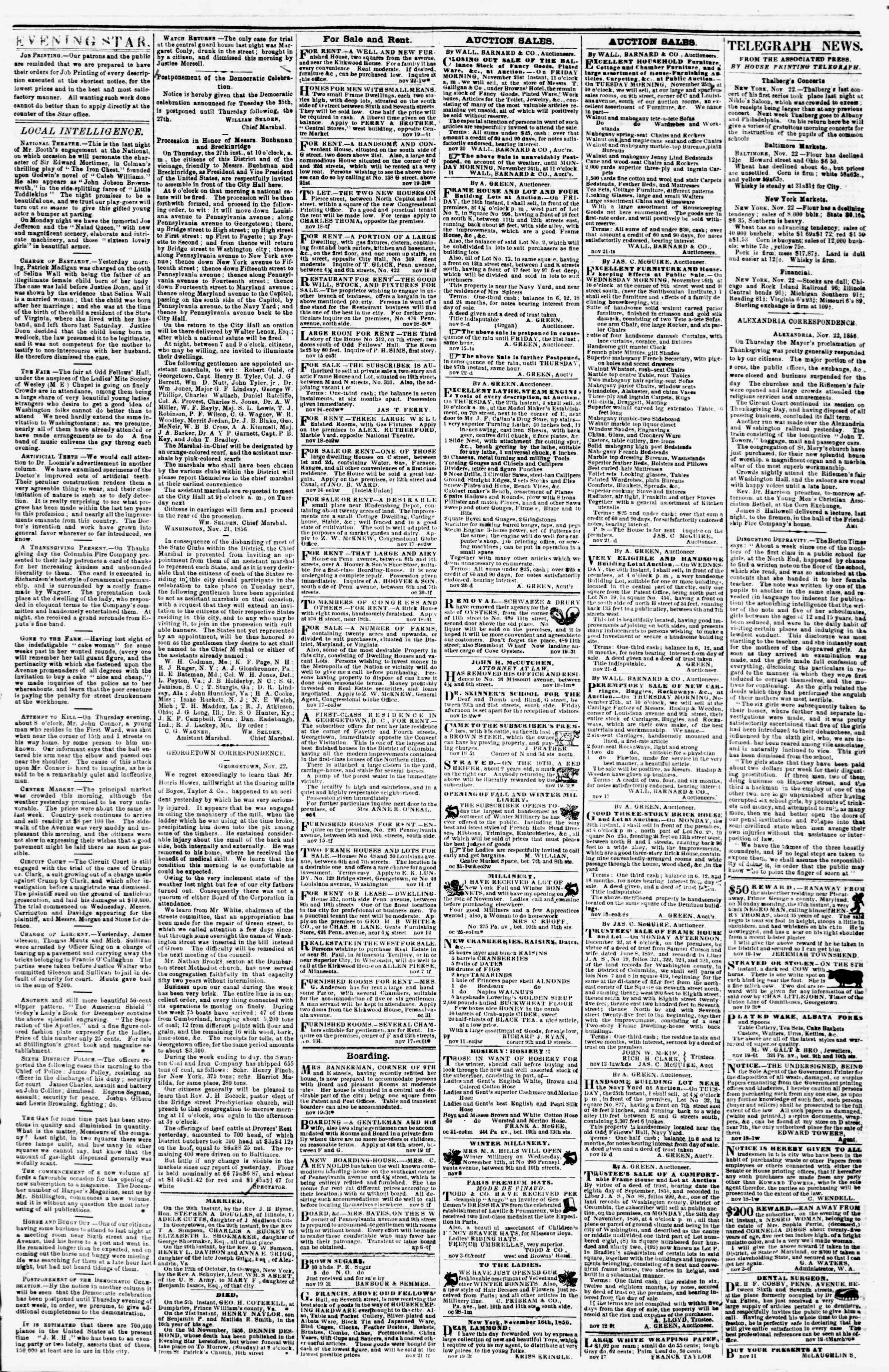 Newspaper of Evening Star dated November 22, 1856 Page 3