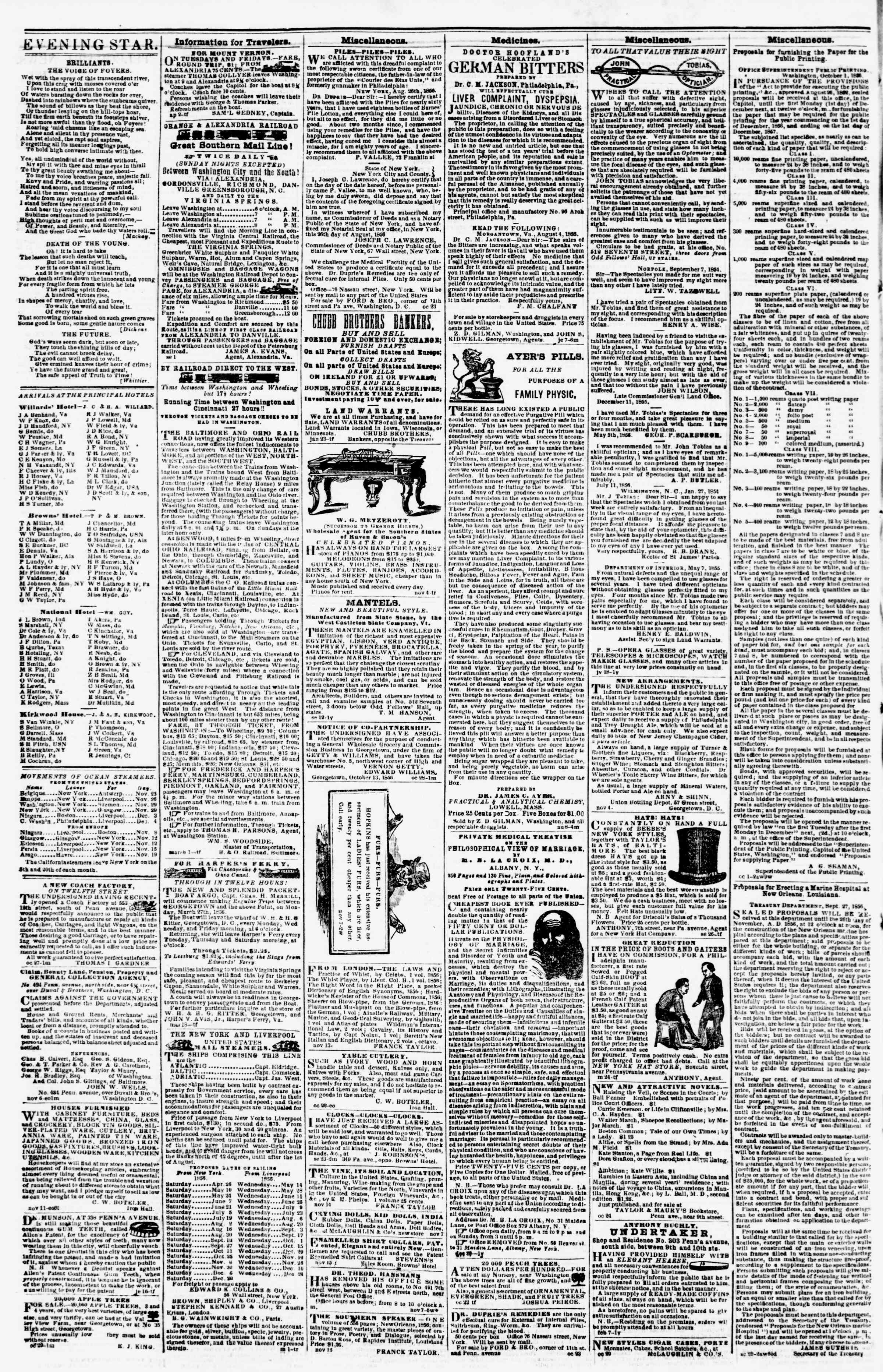 Newspaper of Evening Star dated November 22, 1856 Page 4