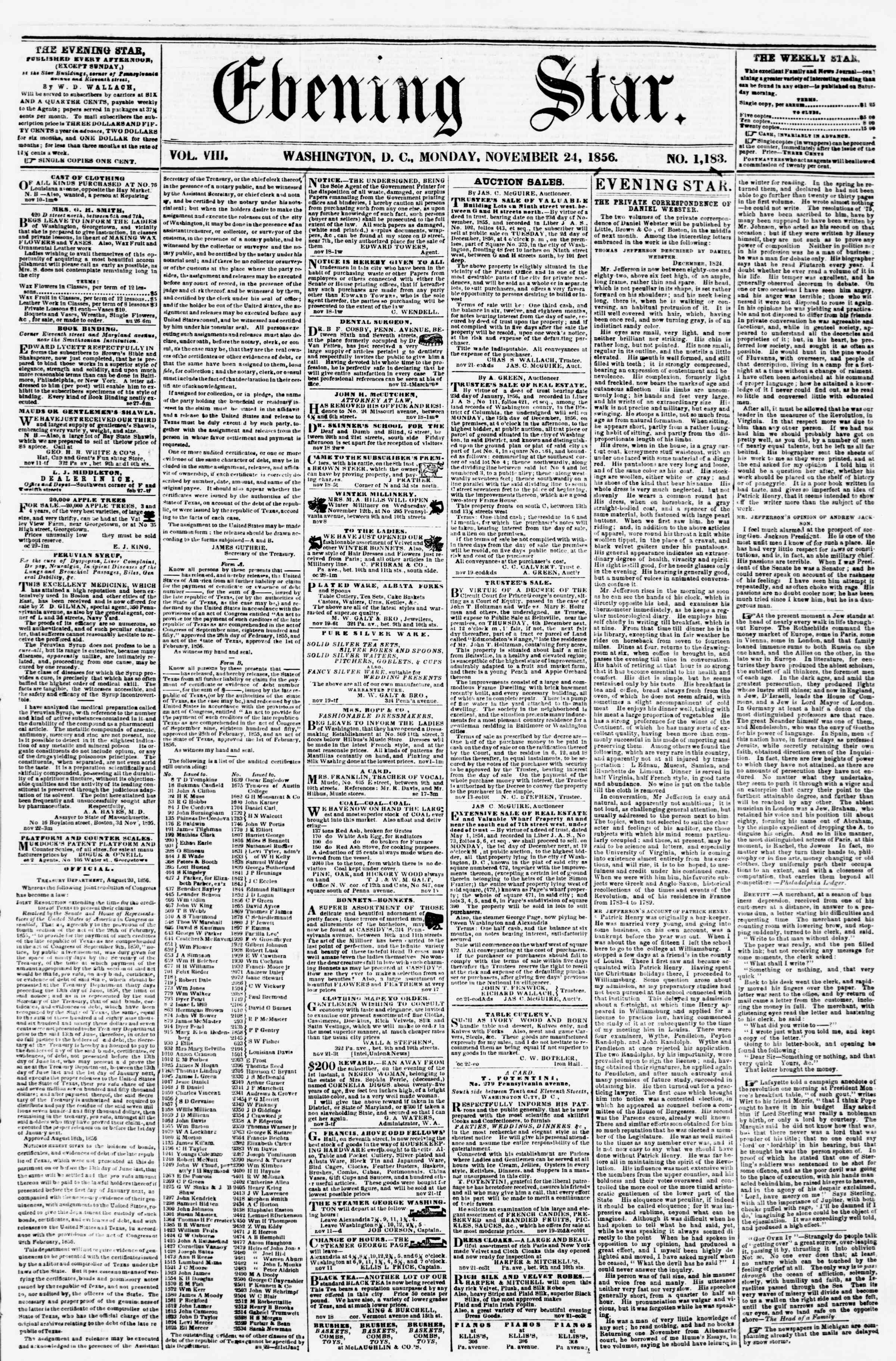 Newspaper of Evening Star dated November 24, 1856 Page 1