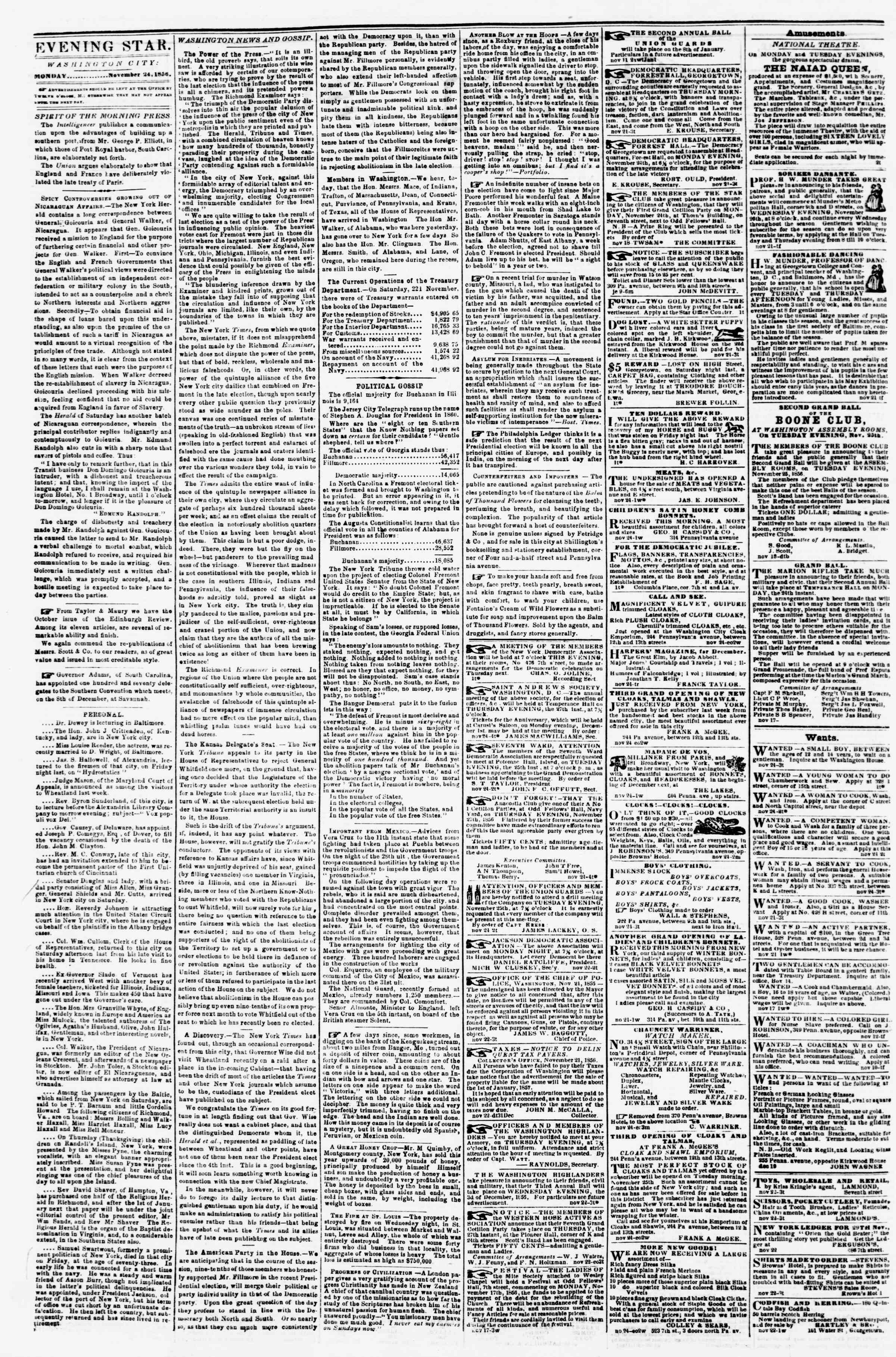 Newspaper of Evening Star dated November 24, 1856 Page 2