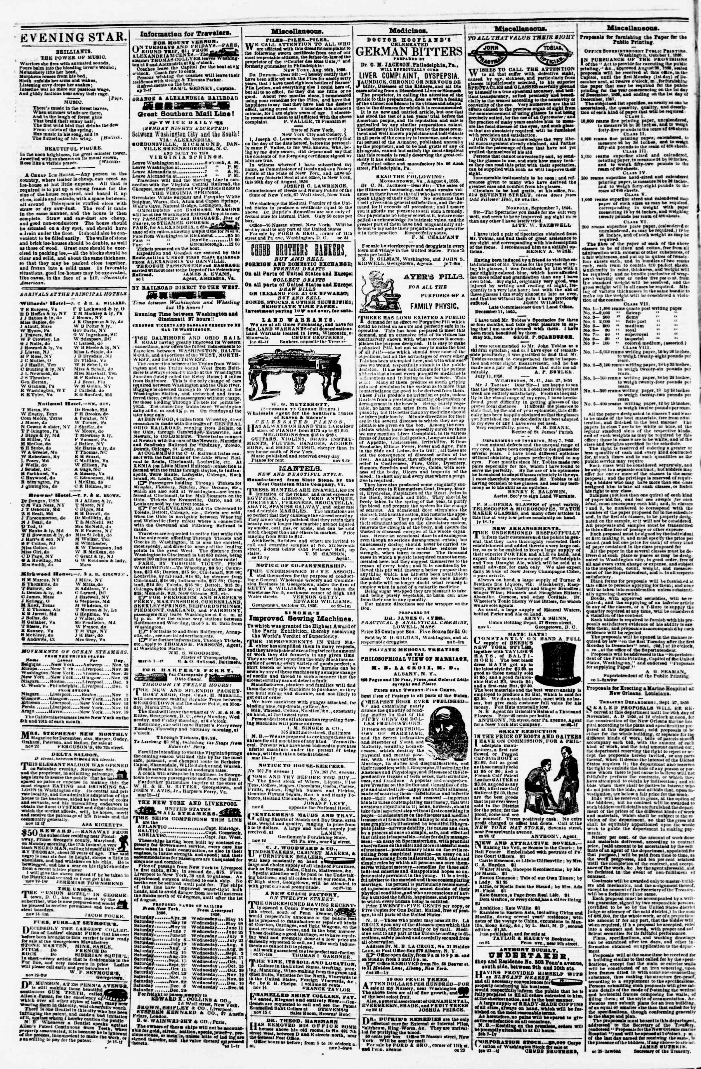 Newspaper of Evening Star dated November 24, 1856 Page 4