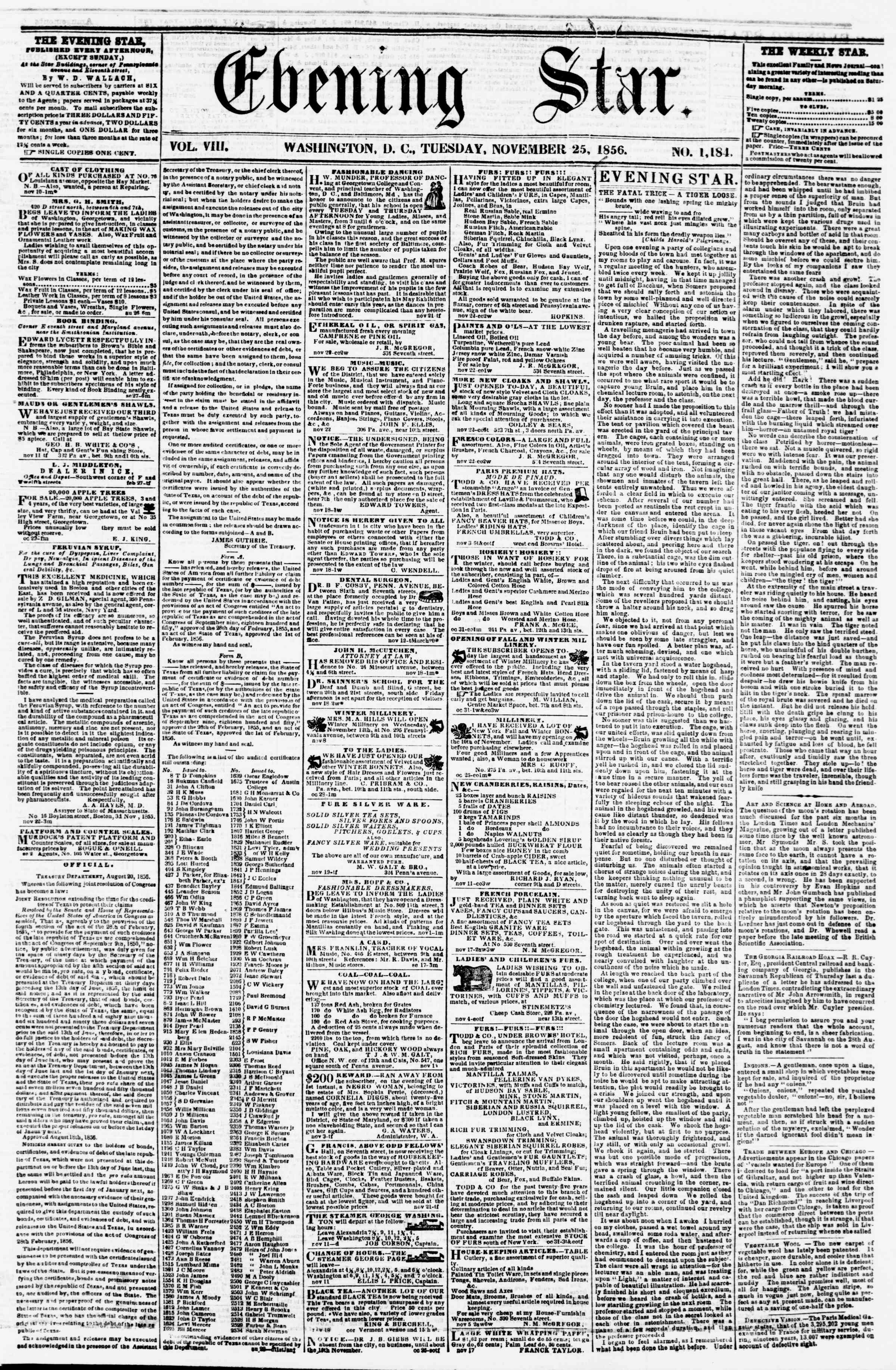 Newspaper of Evening Star dated November 25, 1856 Page 1