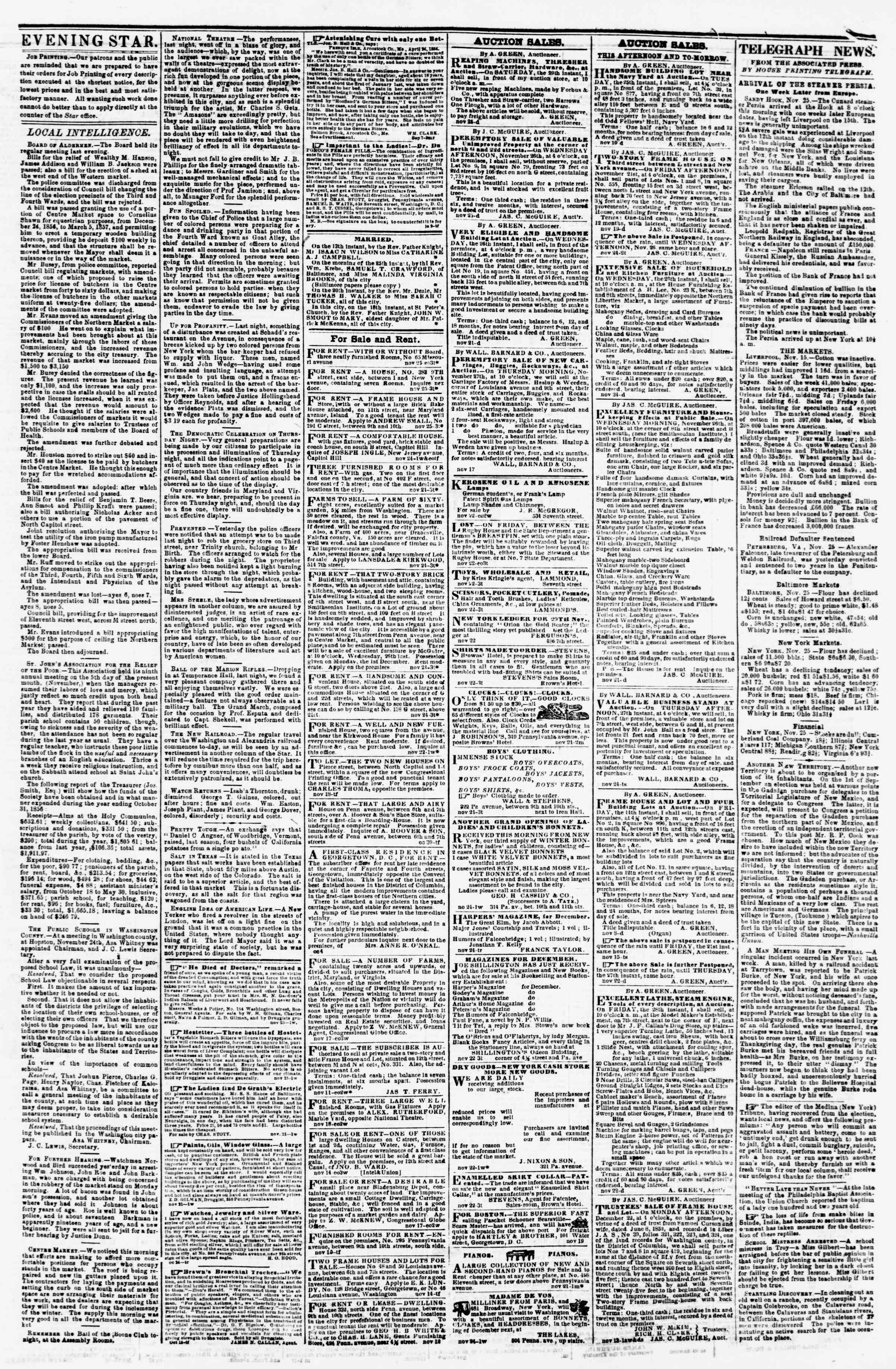 Newspaper of Evening Star dated November 25, 1856 Page 3