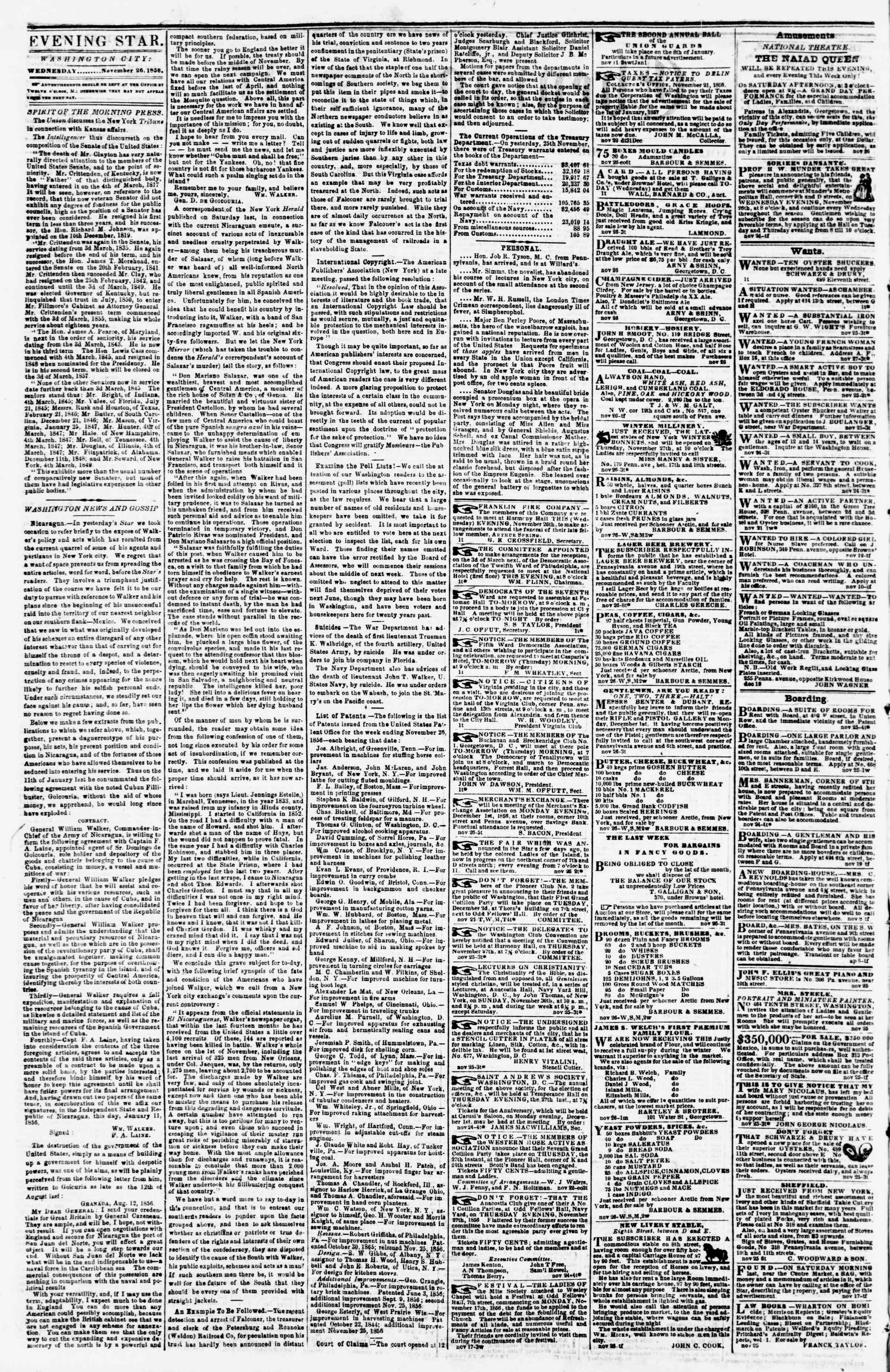Newspaper of Evening Star dated November 26, 1856 Page 2