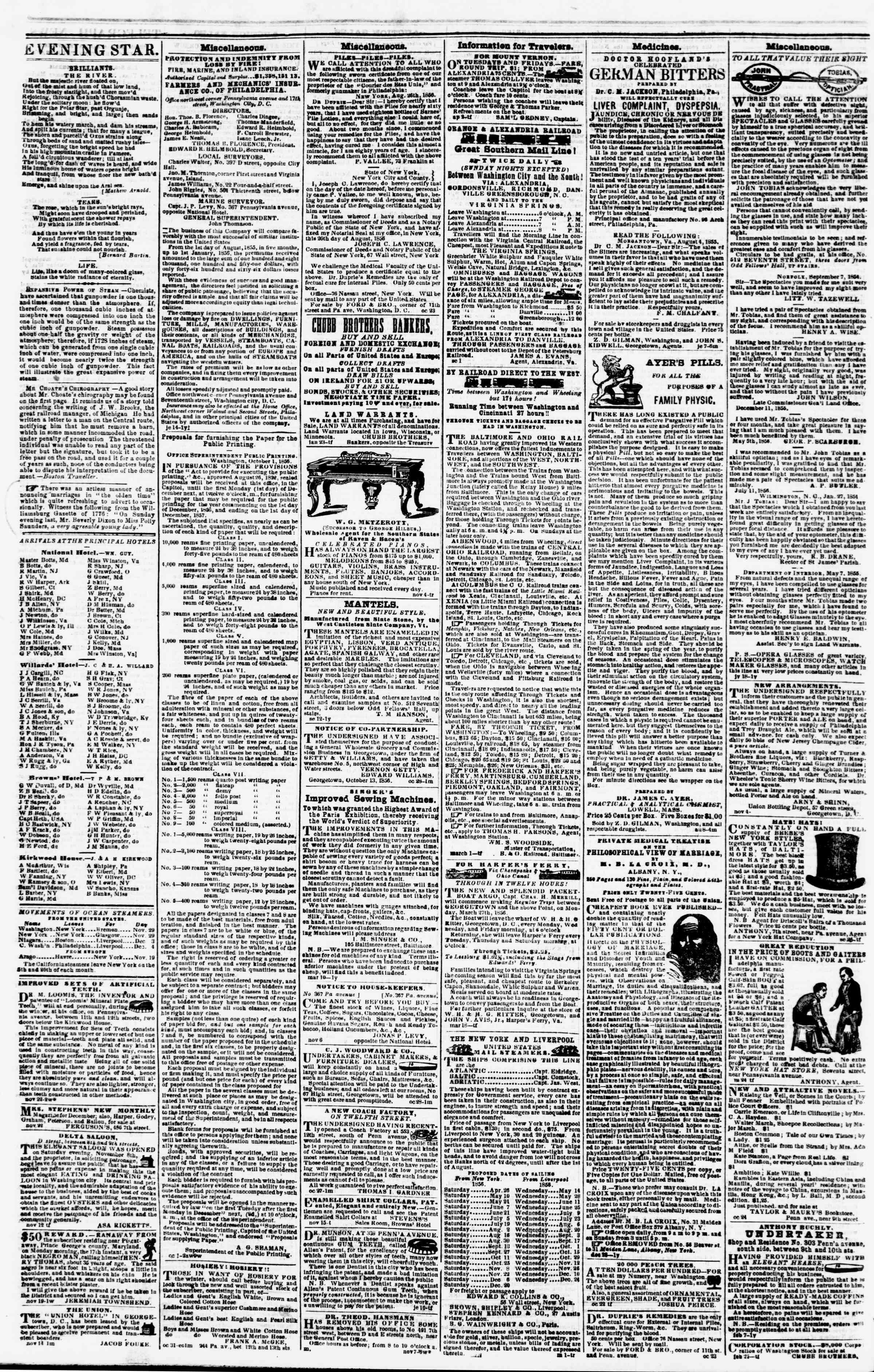 Newspaper of Evening Star dated November 26, 1856 Page 4