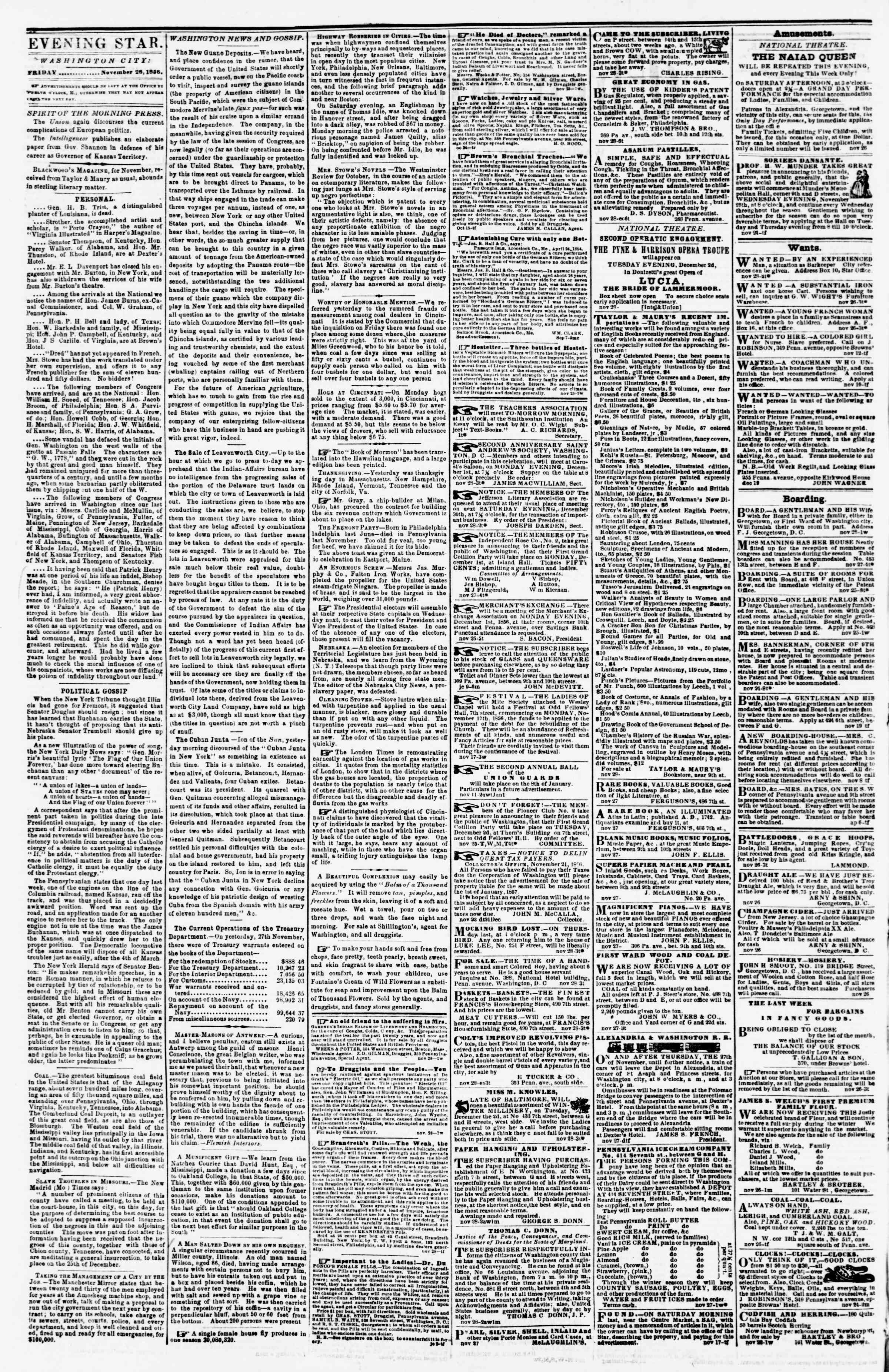 Newspaper of Evening Star dated November 28, 1856 Page 2