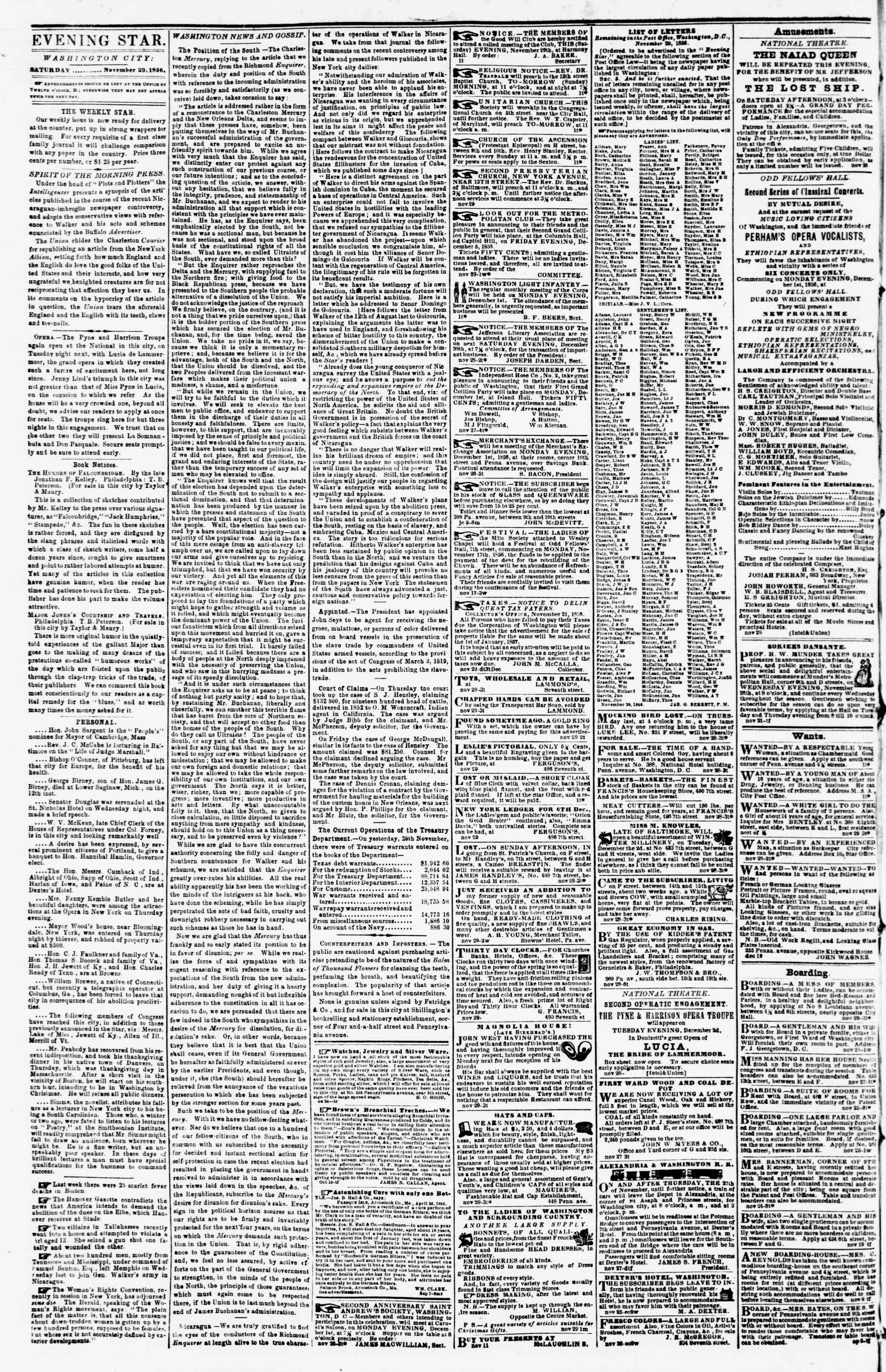 Newspaper of Evening Star dated November 29, 1856 Page 2
