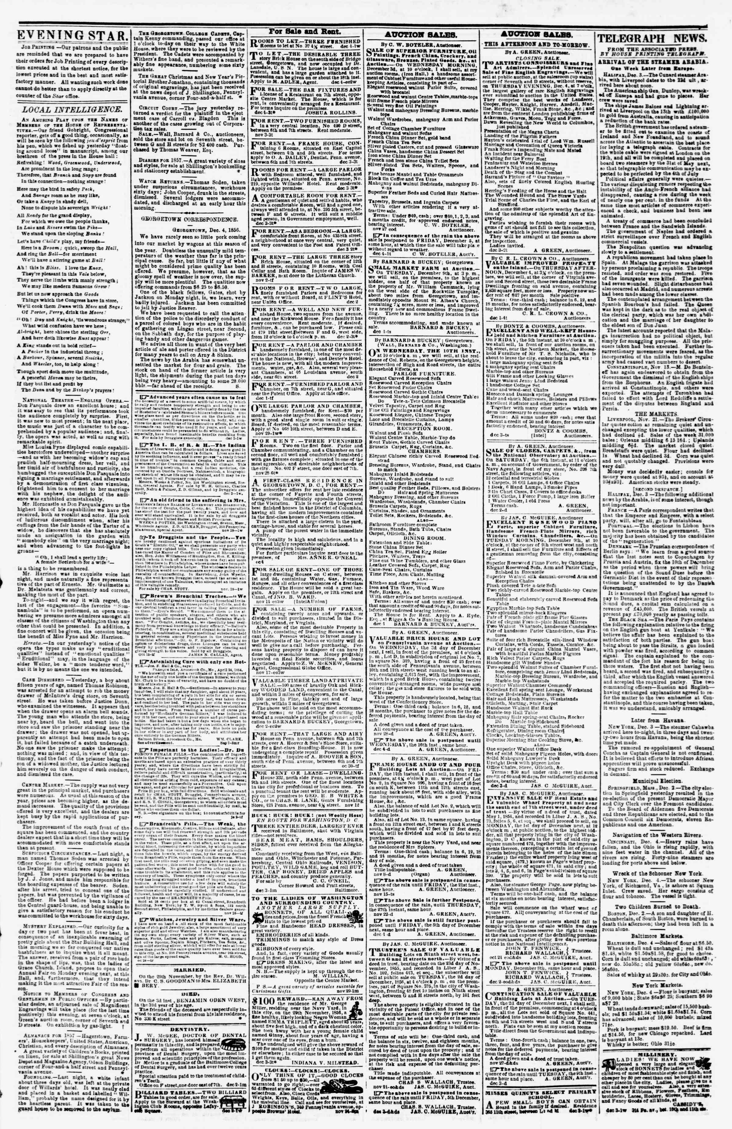 Newspaper of Evening Star dated December 4, 1856 Page 3