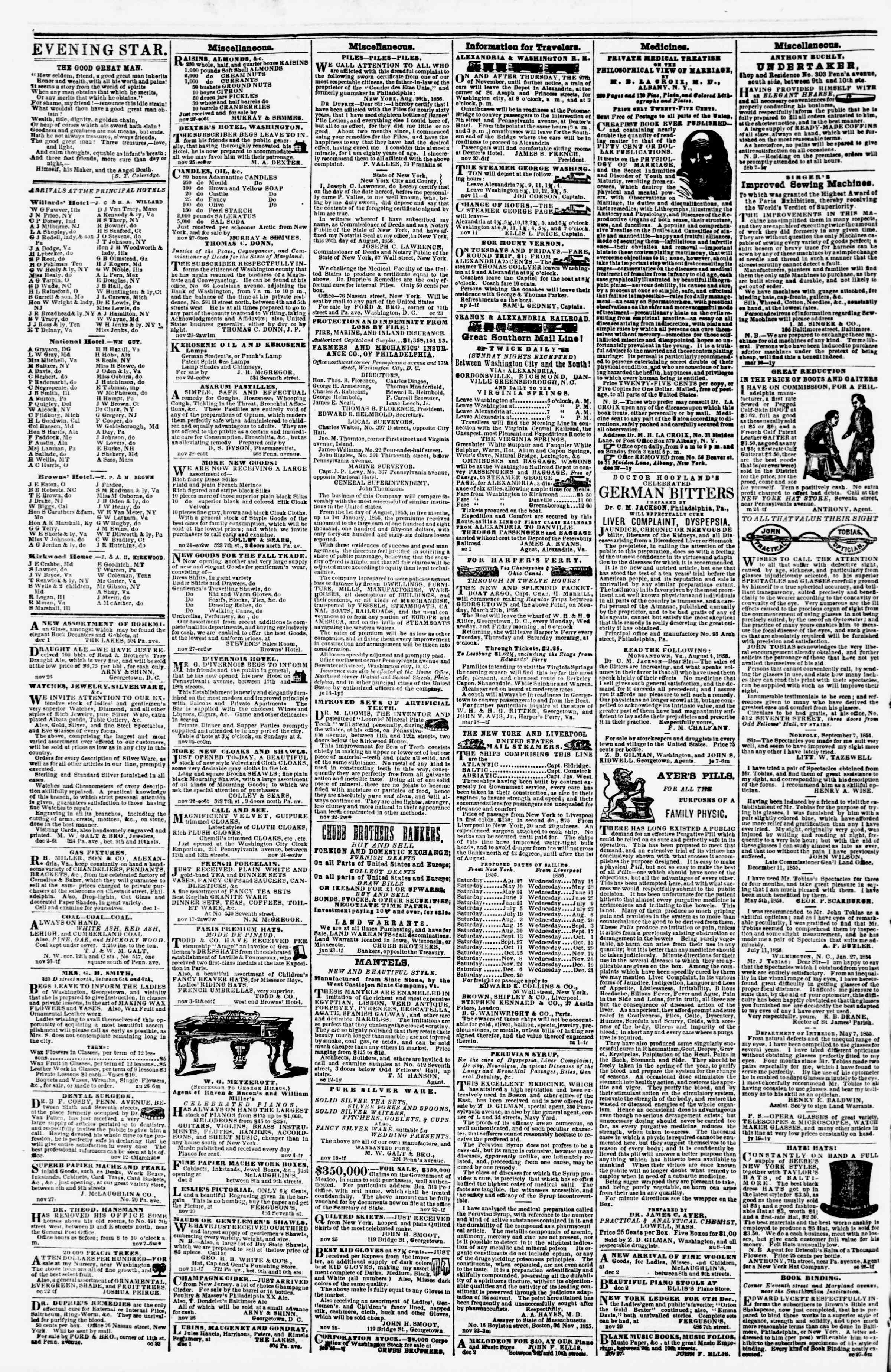 Newspaper of Evening Star dated December 4, 1856 Page 4