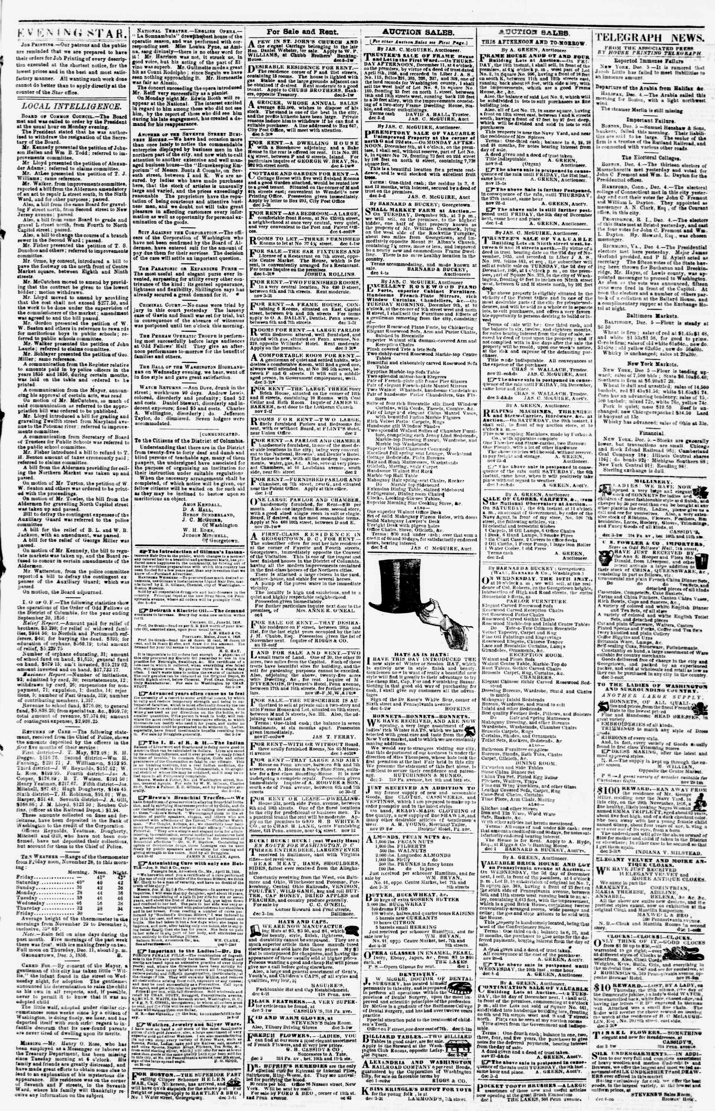 Newspaper of Evening Star dated December 5, 1856 Page 3